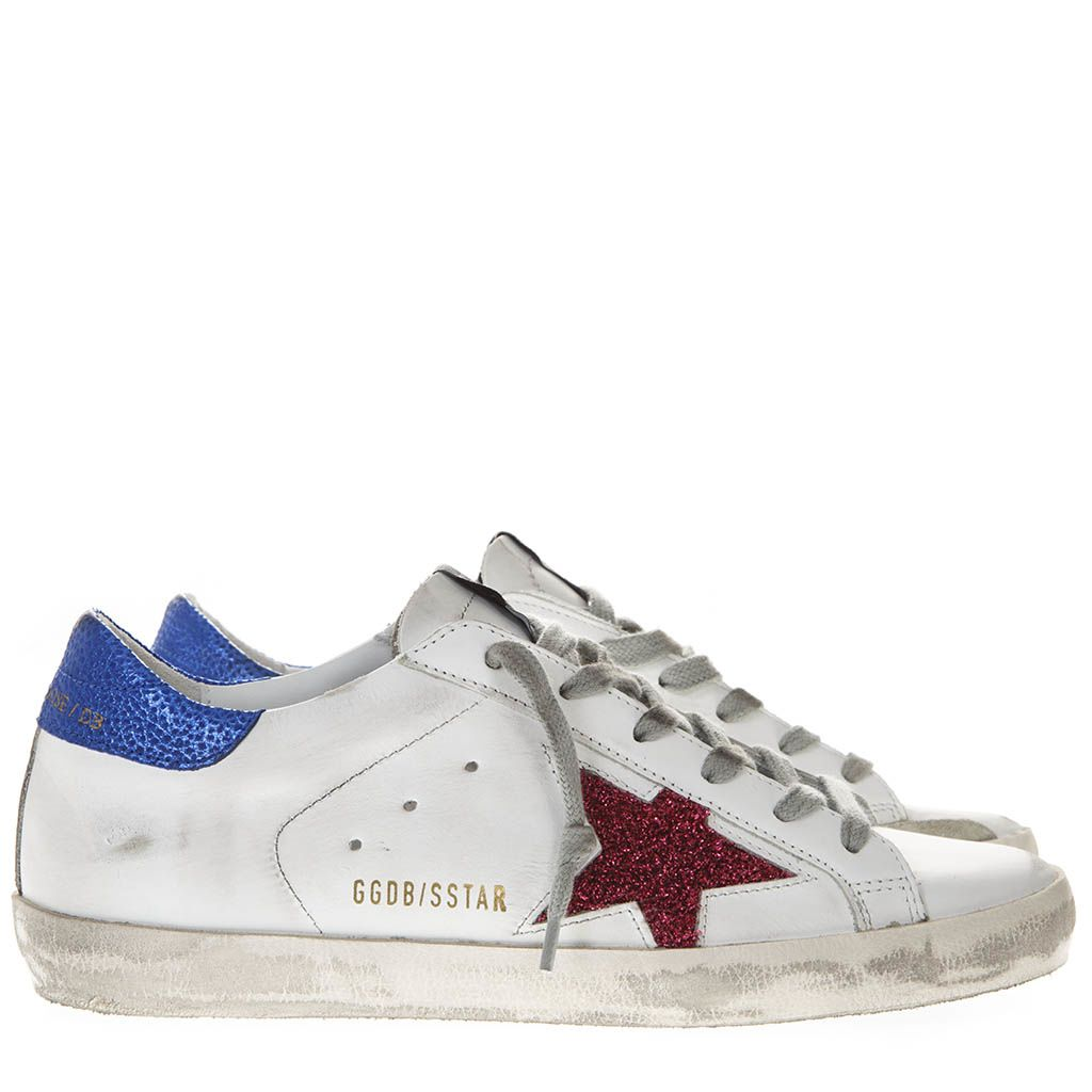 Golden Goose White Leather Superstar Sneakers With Fuchsia And Blue Lurex Inserts