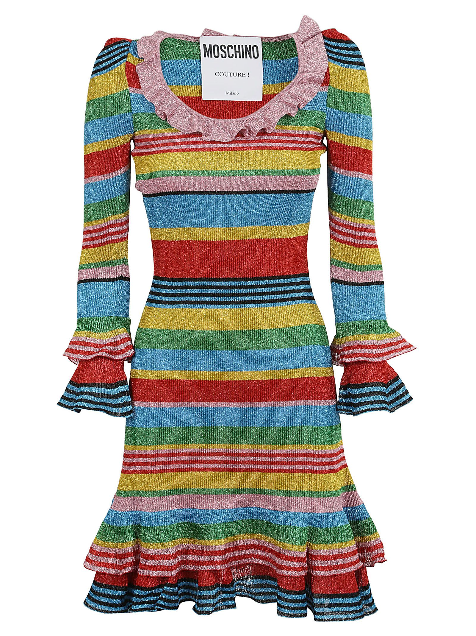 Moschino Striped Detail Ruffled Dress