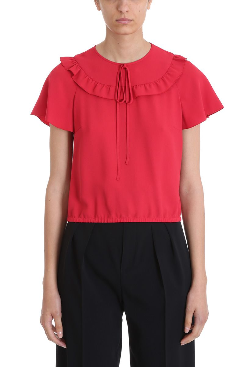 RED Valentino Rouches Red Crepe Top
