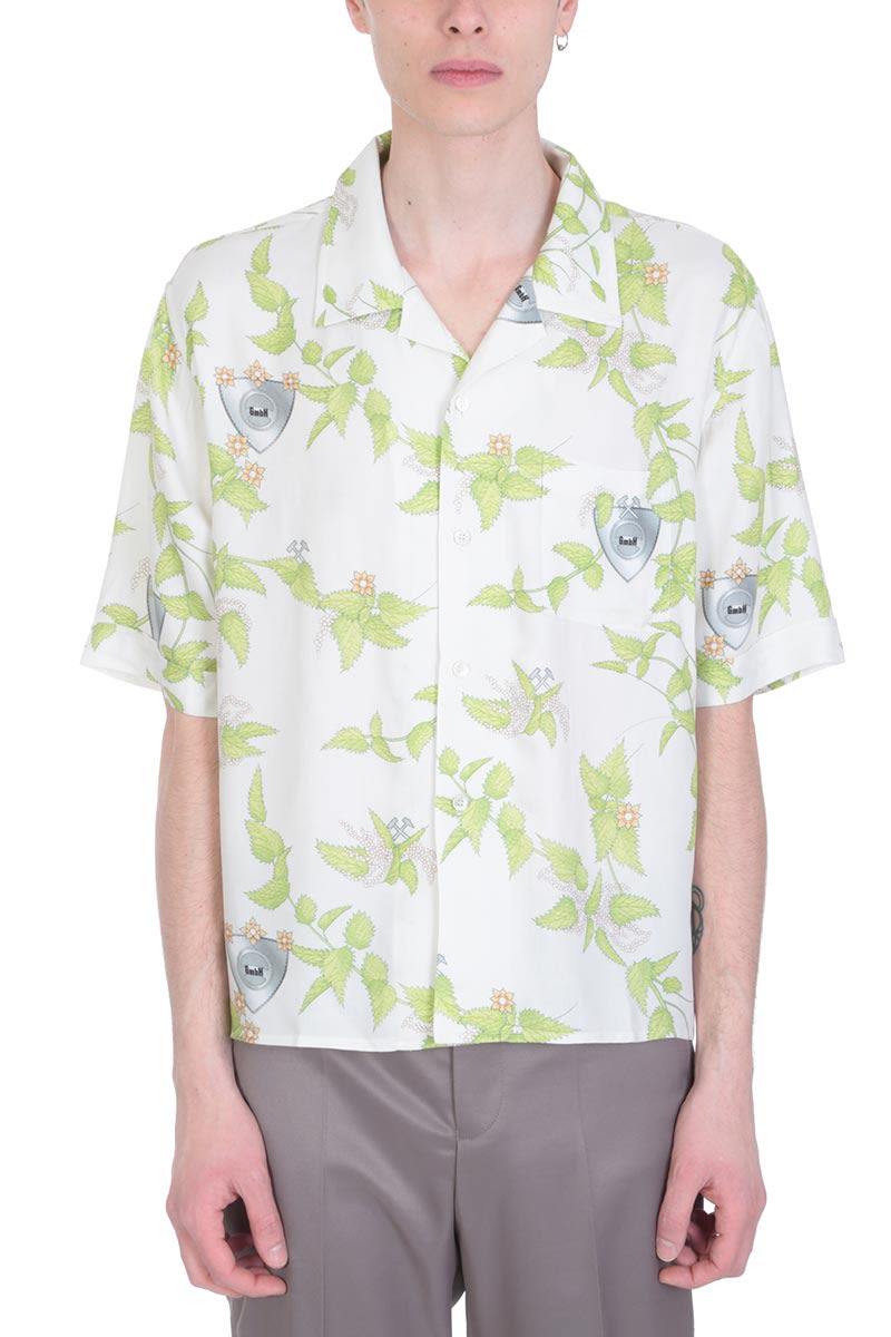 GMBH Viscose White And Green Cotton Shirt