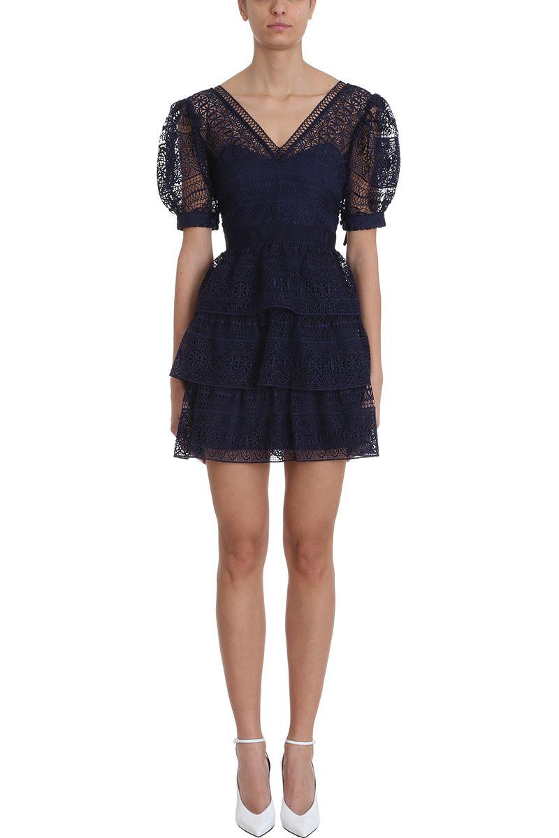 self-portrait Spiral Panel Blu Lace Mini Dress