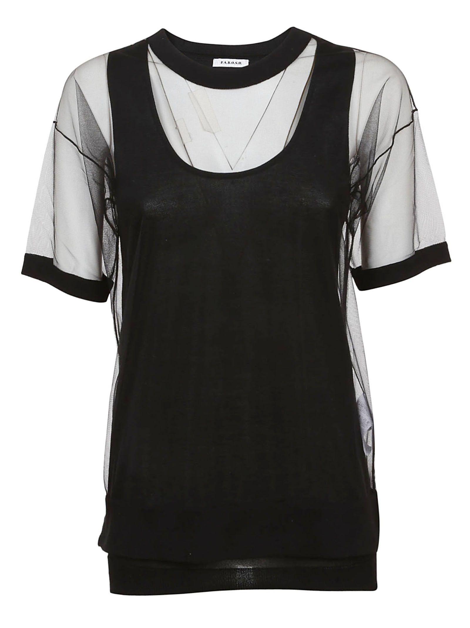 Parosh Lace Insert T-shirt