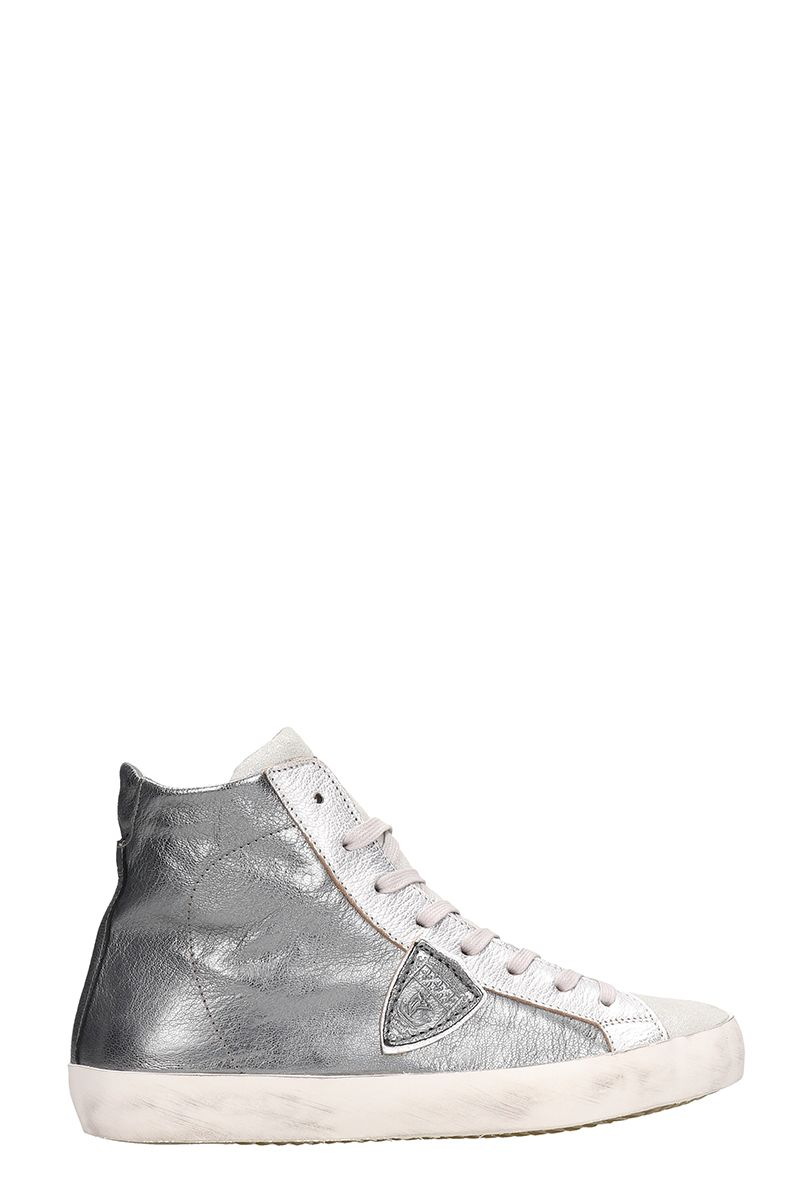 Philippe Model Grey Metallic Leather High Paris Sneakers