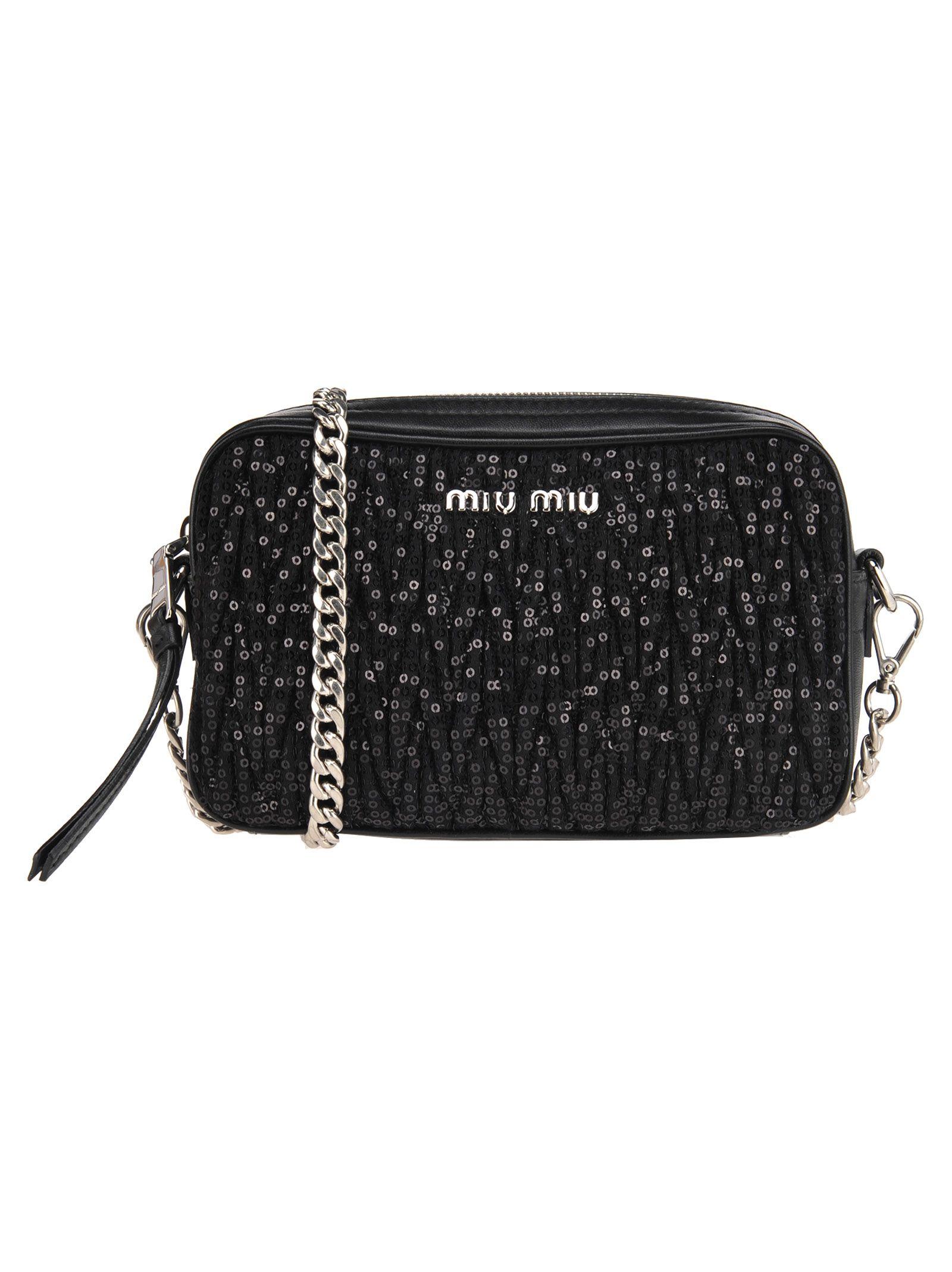 Miu Miu Camera Bag Pailettes Matellasse