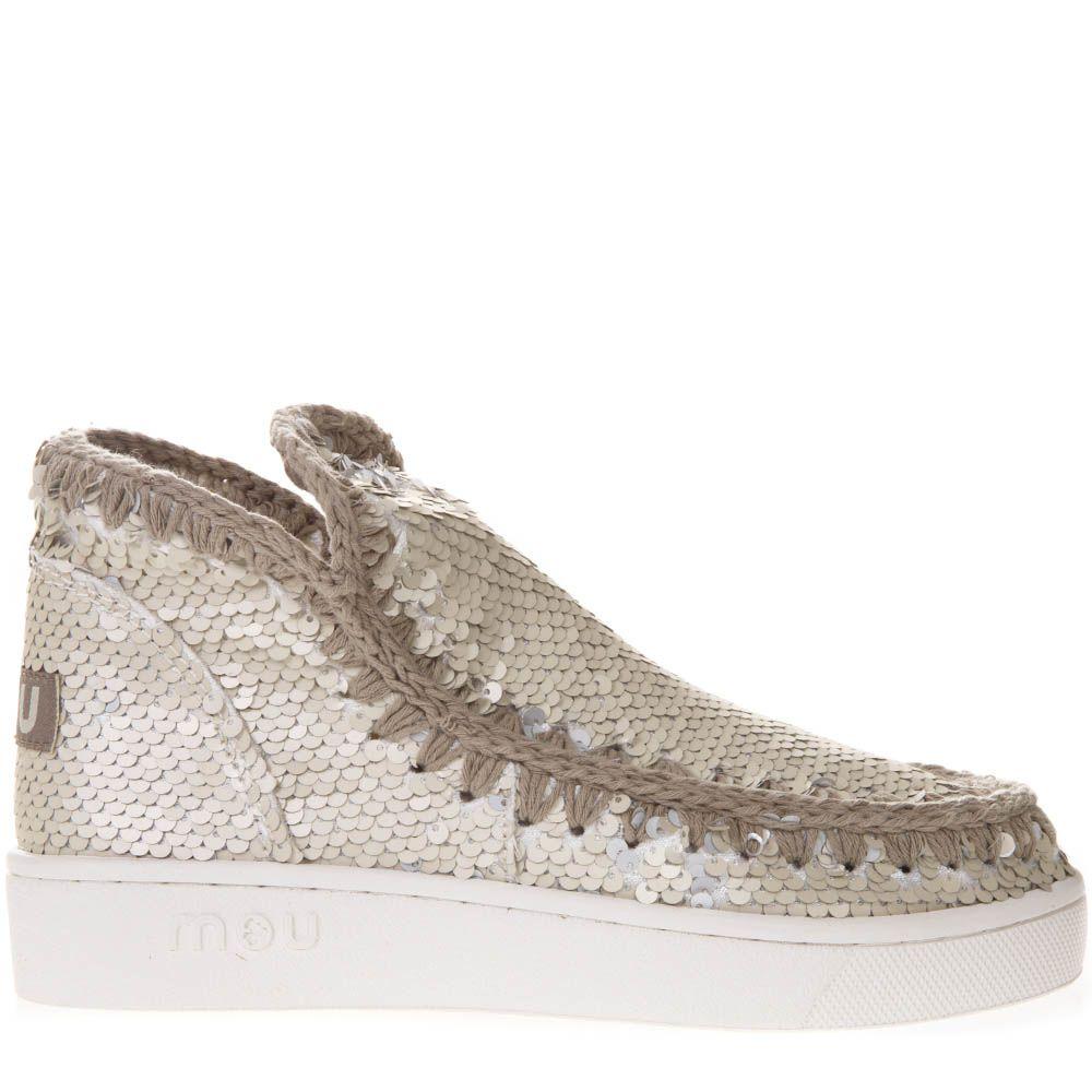 mou -  Summer Eskimo All Sequins Low Cut Beige Canvas Shoes