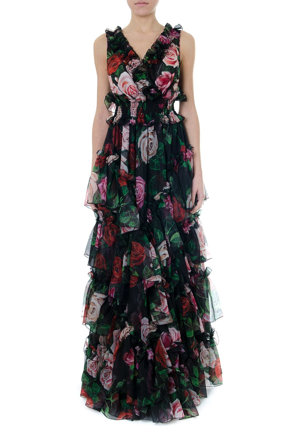 Dolce & Gabbana Multicolor Silk Roses Print Dress