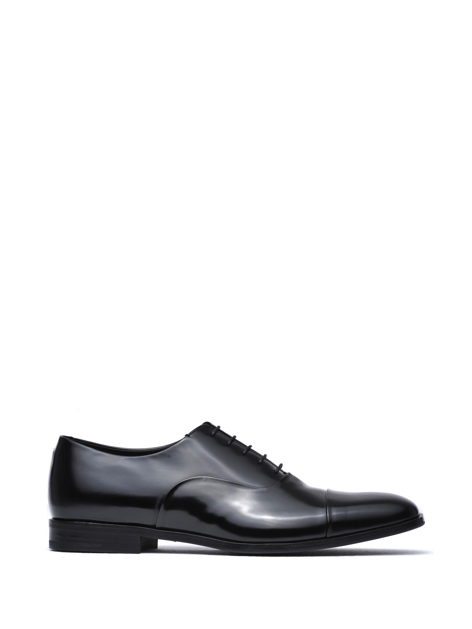 Prada Black Brushed Leather Oxford Shoes