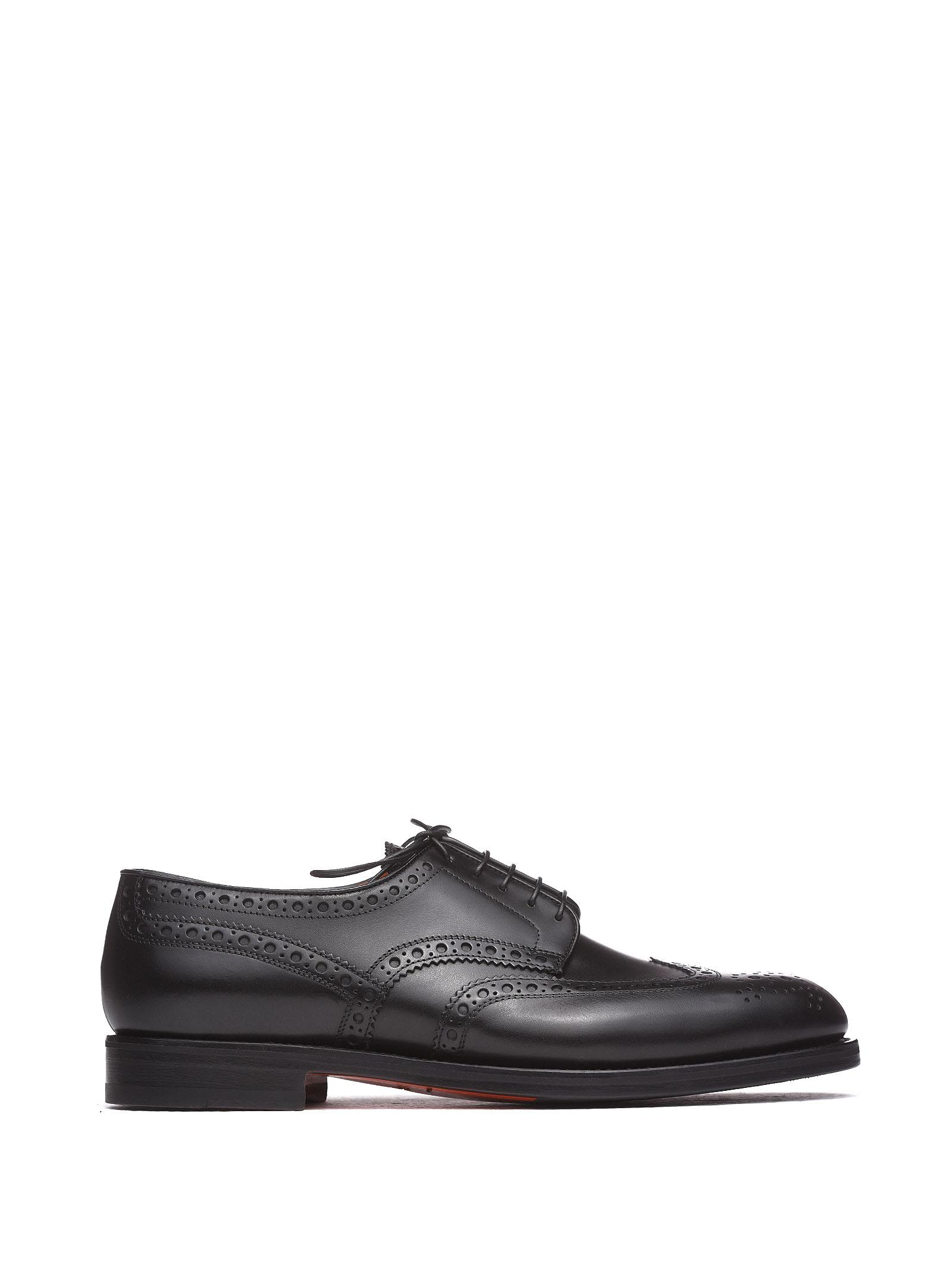 Santoni Black Brogue Shoes