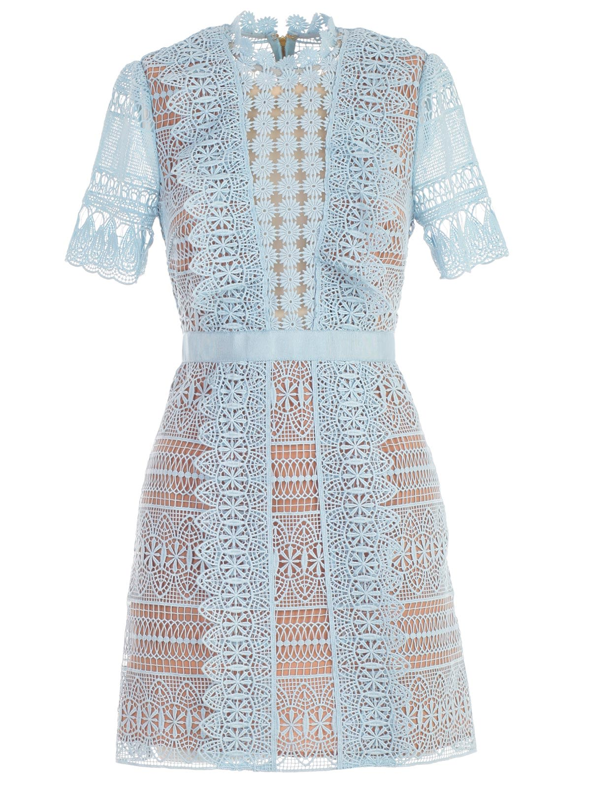 Dress Mini Blue Spiral Panel Lace