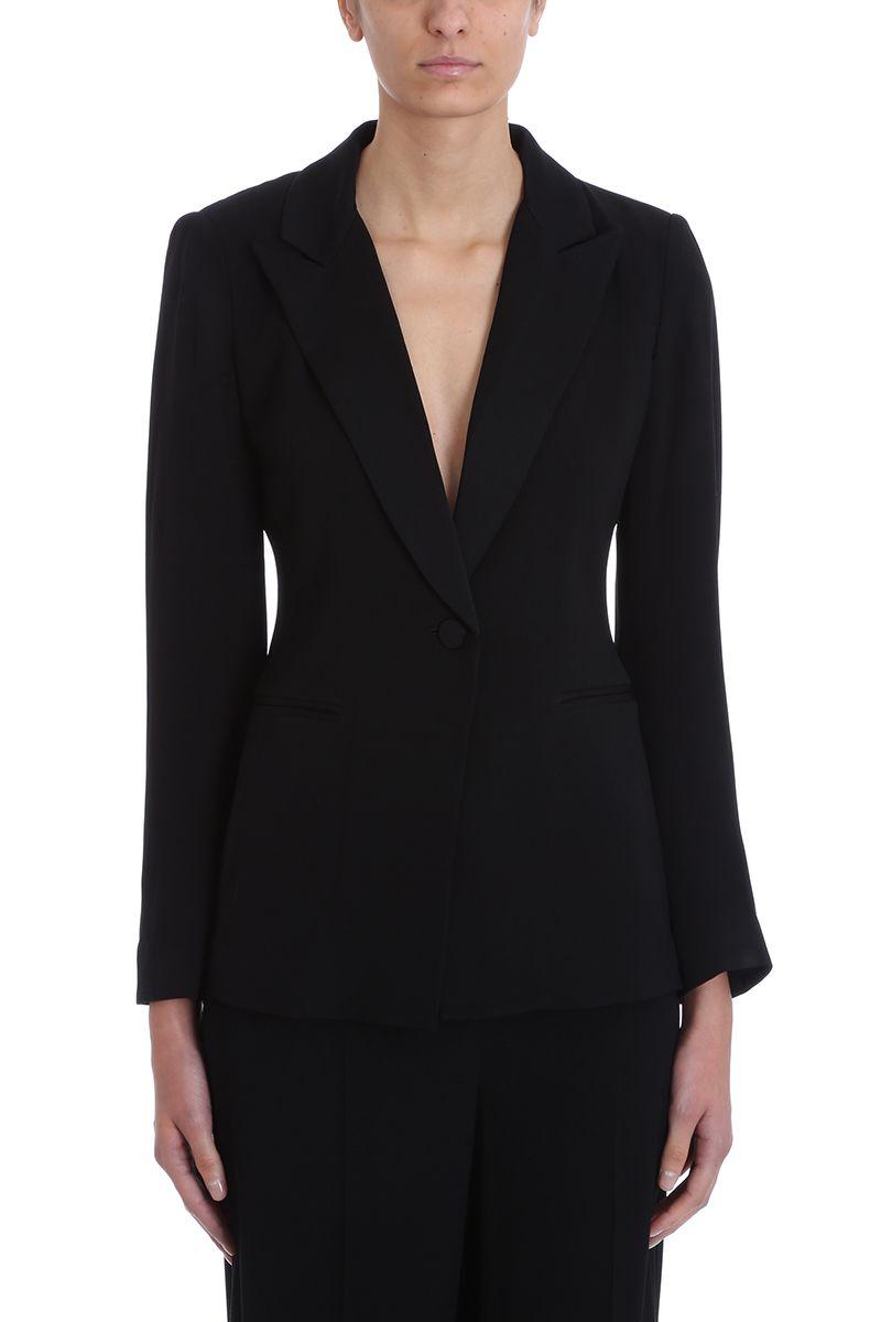 Diane Von Furstenberg Collared Black Crepe Blazer