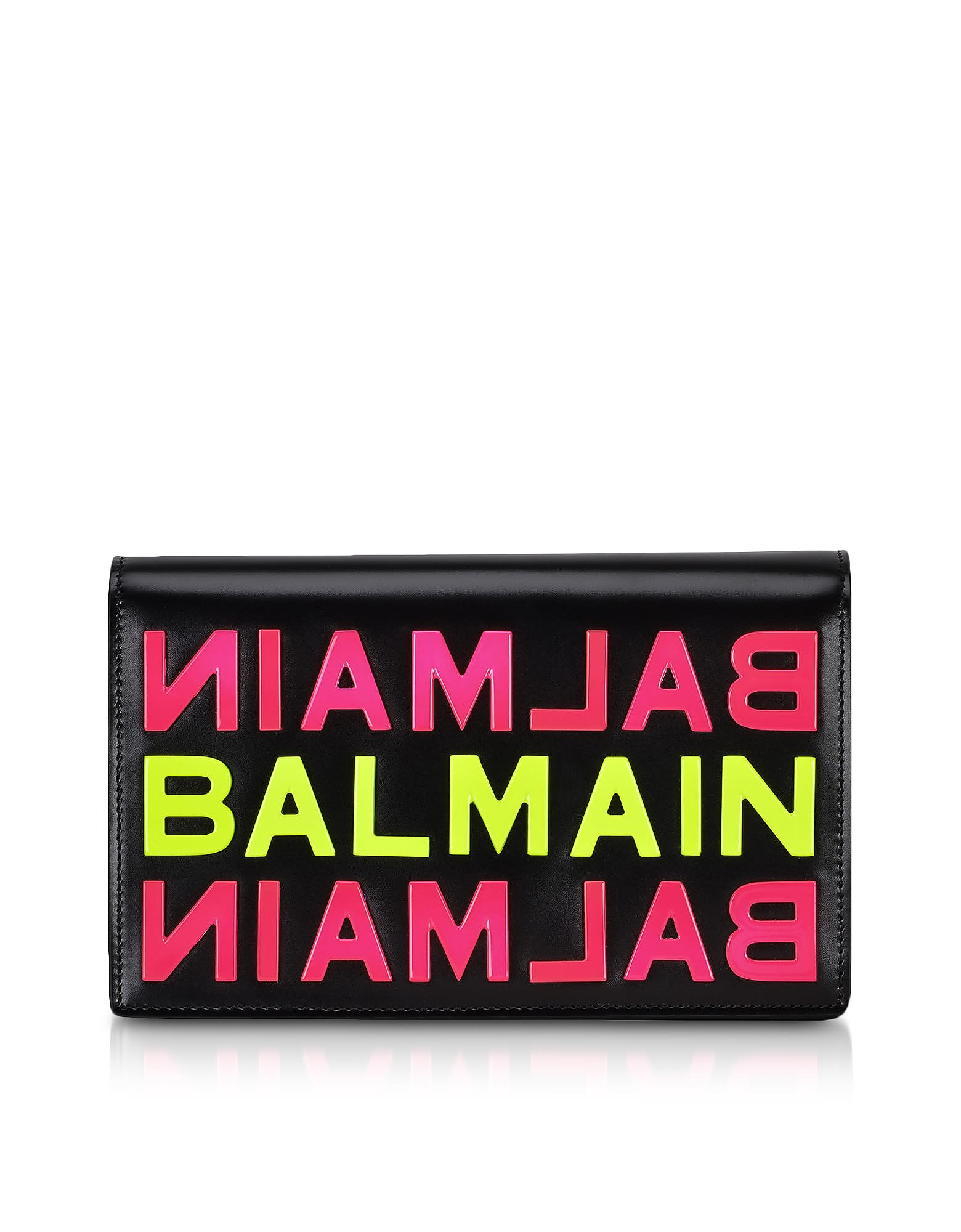 Balmain Black Smooth Leather Clutch W/neon Metallic Logo