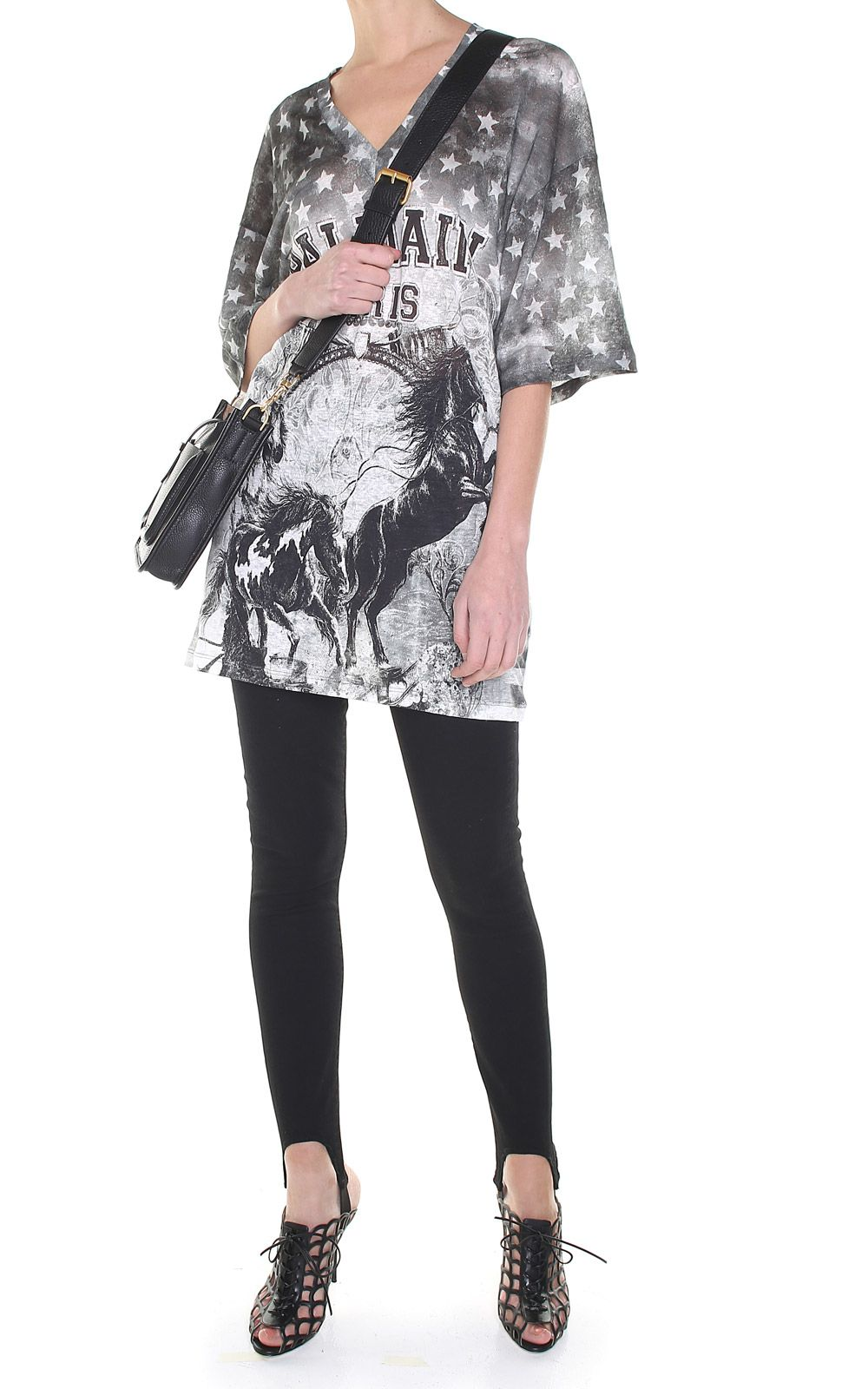 Balmain Horse-print Linen Oversized T-shirt