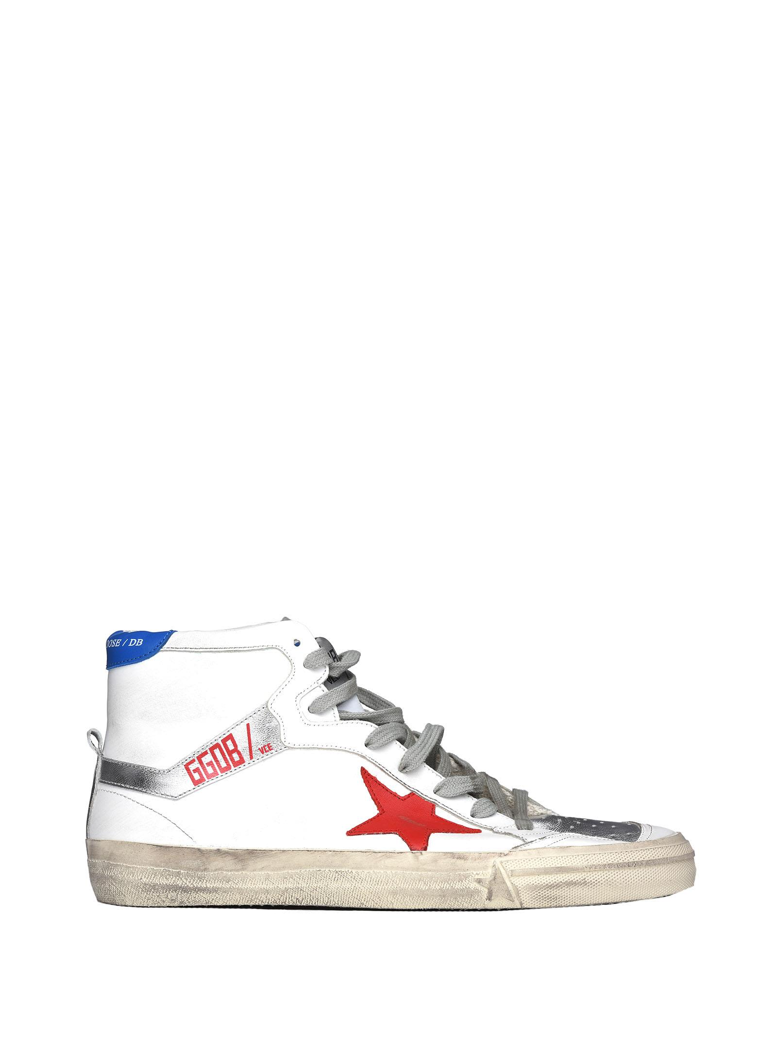 Golden Goose 2.12 Sneakers In White, Red And Blue Leather