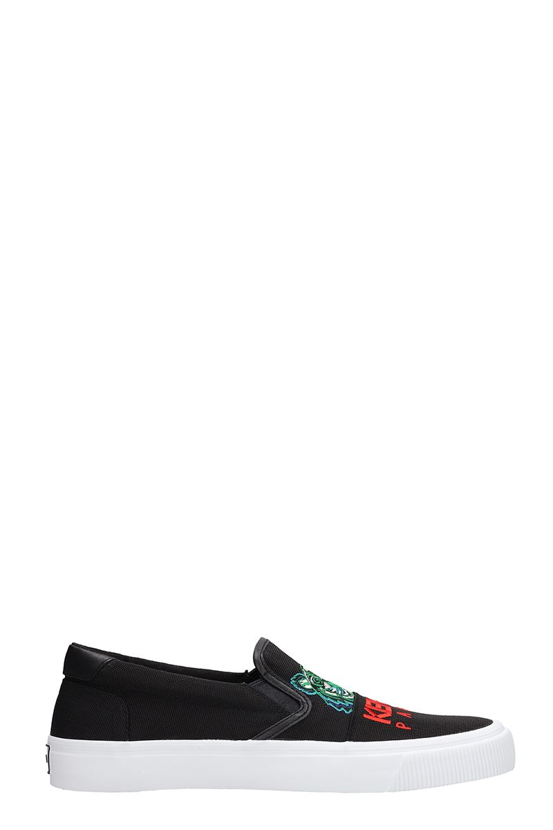 Kenzo K-skate Black Cotton Sneakers Slip On