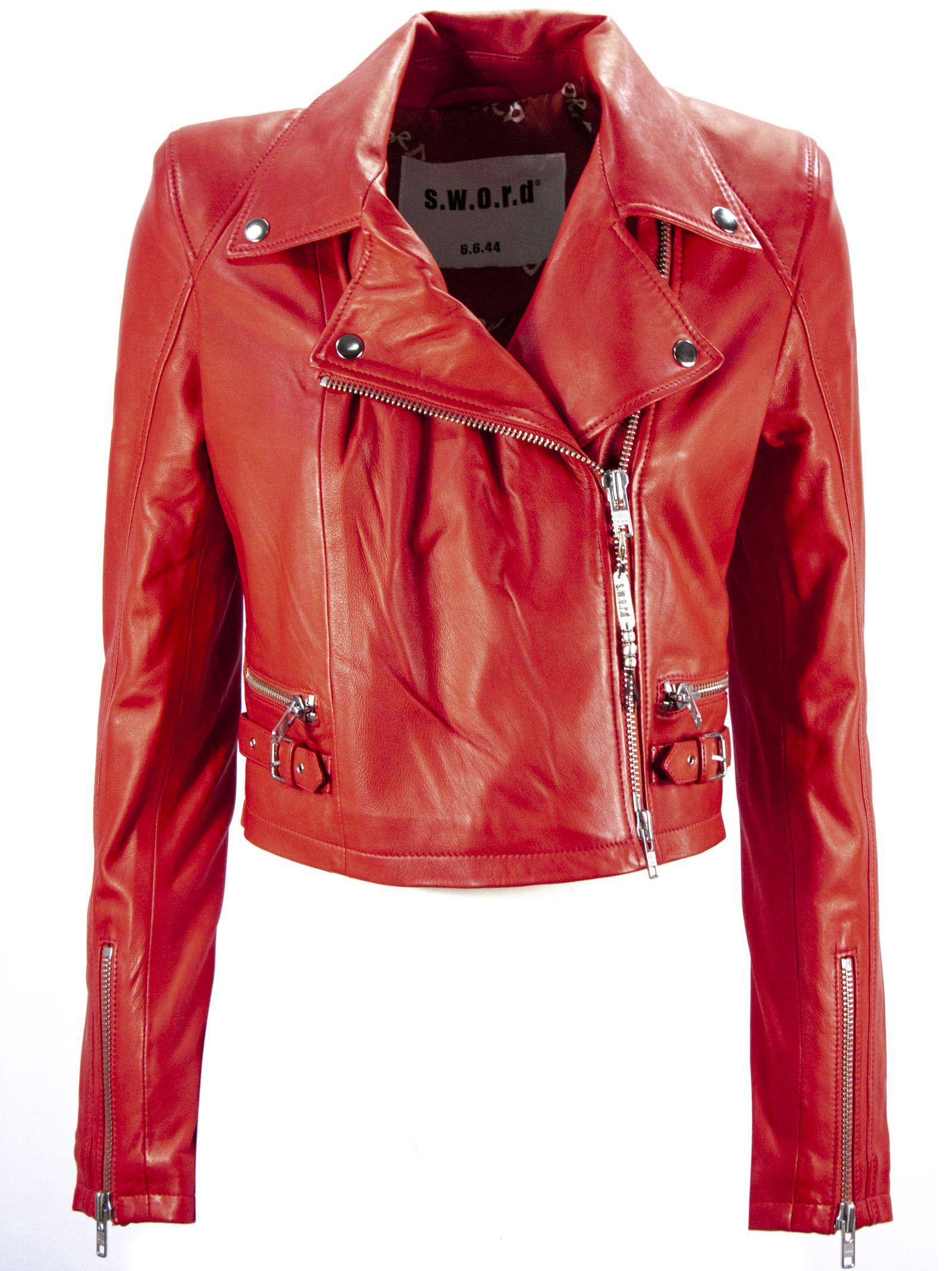S.W.O.R.D 6.6.44 Red Leather Biker Jacket