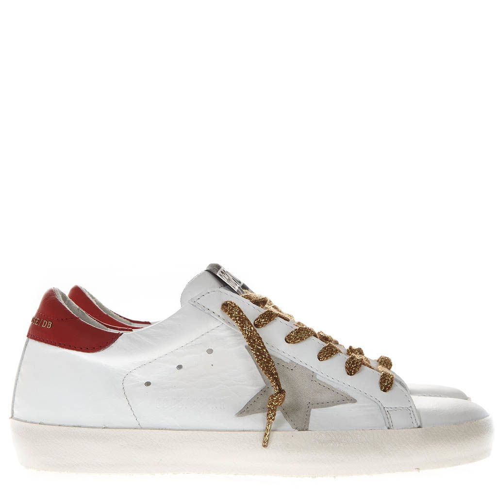 White And Red Leather Superstar Sneakers With Contrasting Laces in White/Red