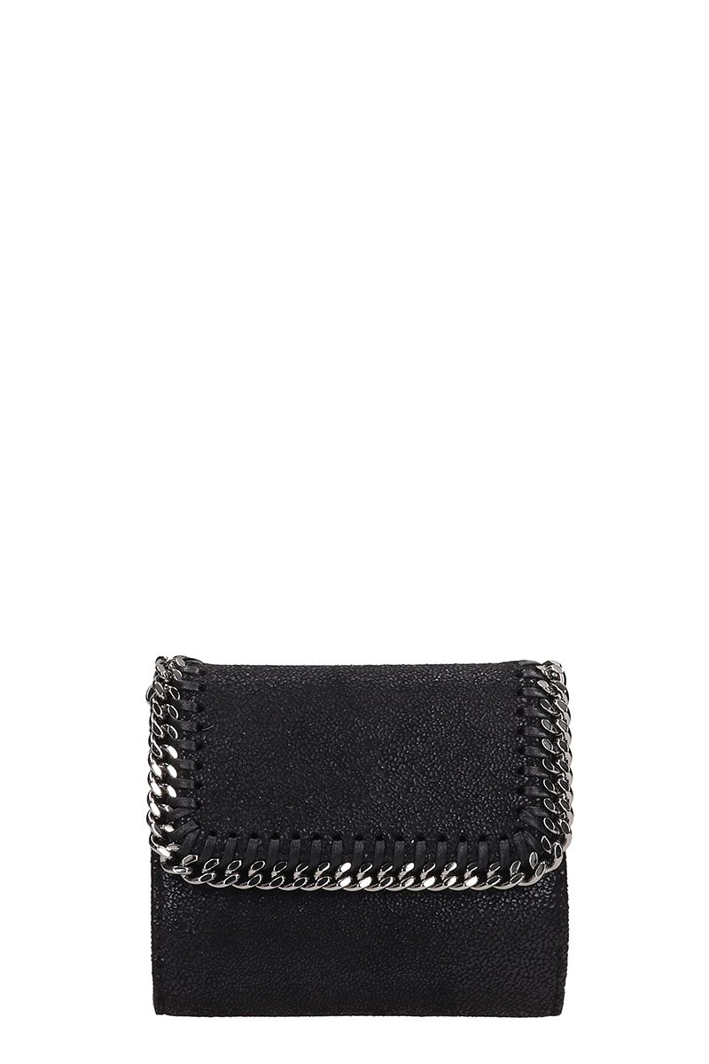 Stella McCartney Black Faux Leather French Wallet