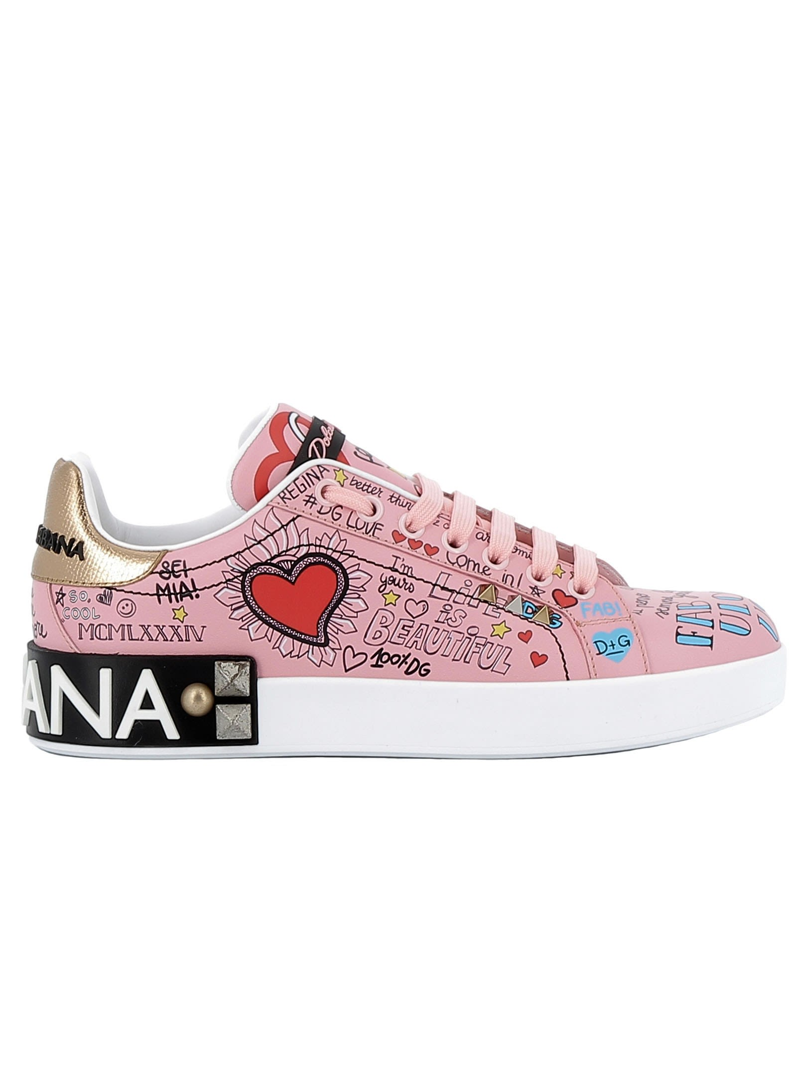 Dolce & Gabbana Pink Leather Sneakers