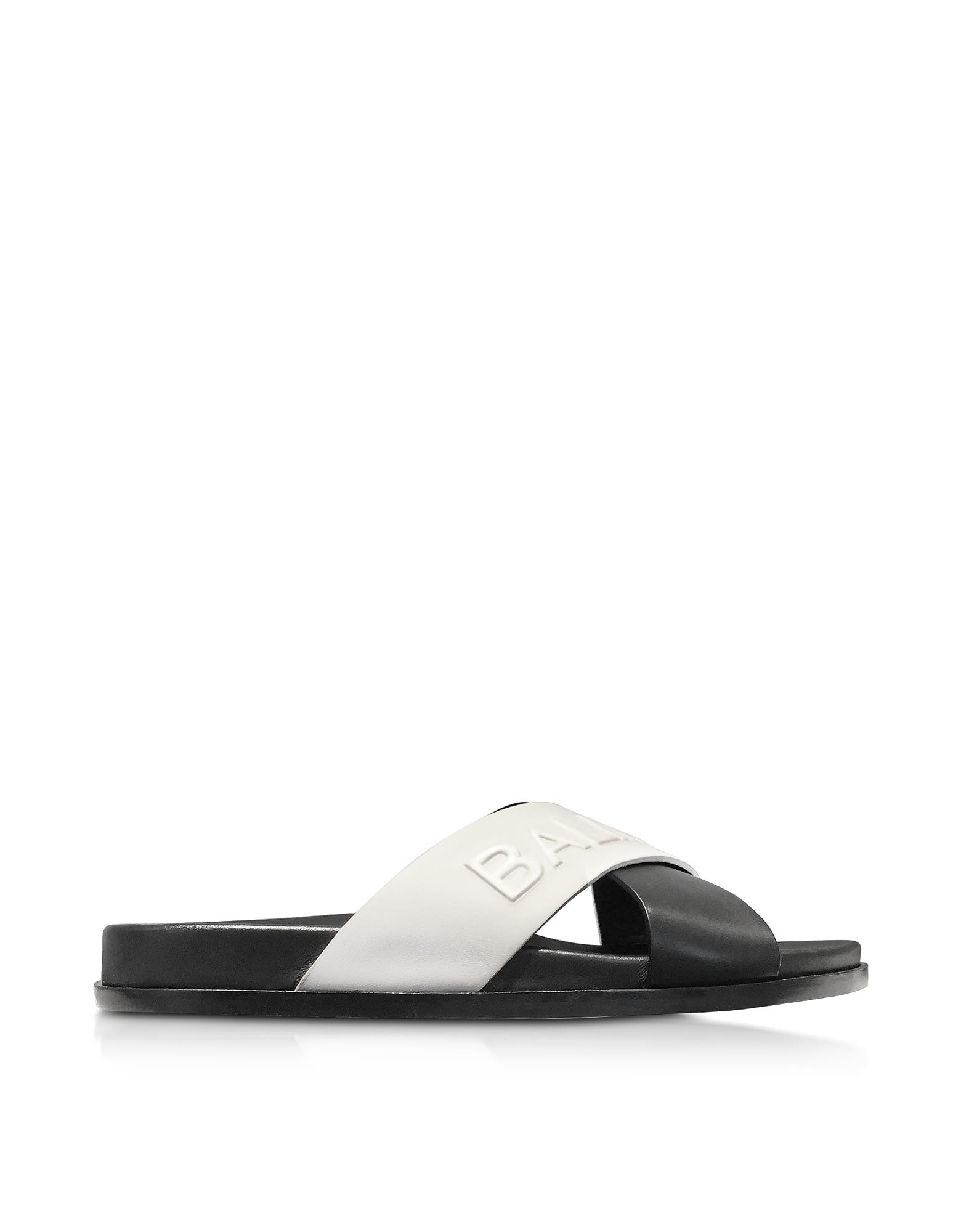 Balmain Black & white Leather Criss Cross Women's Slide Sandals