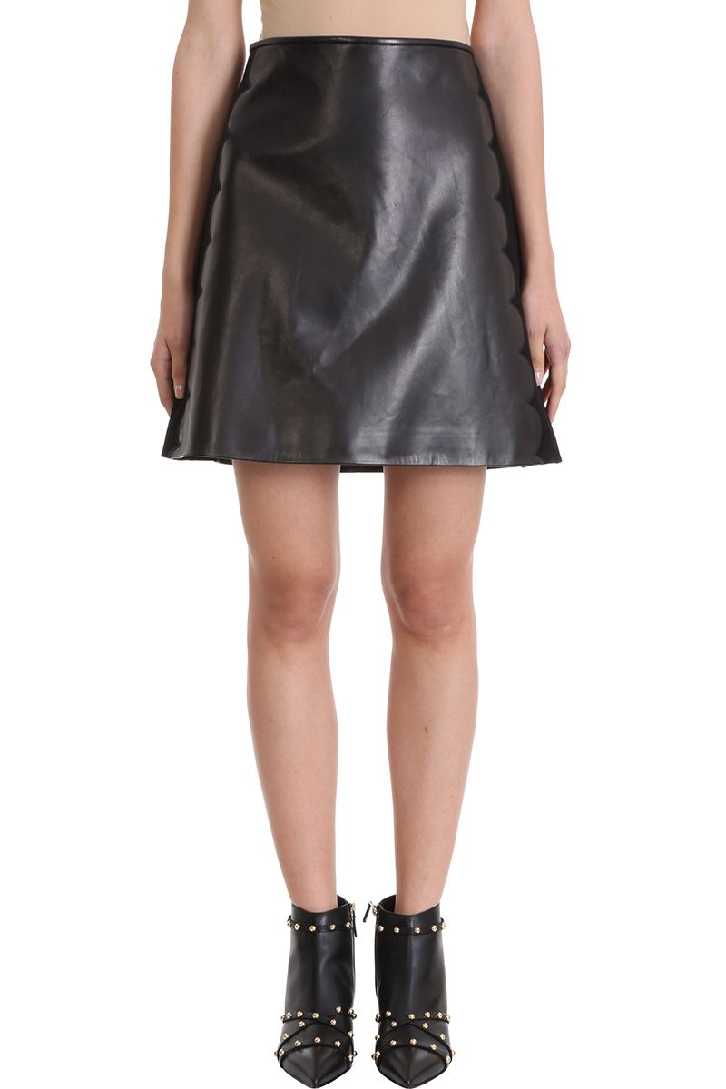 red valentino -  Black Suede And Calf Leather Skirt