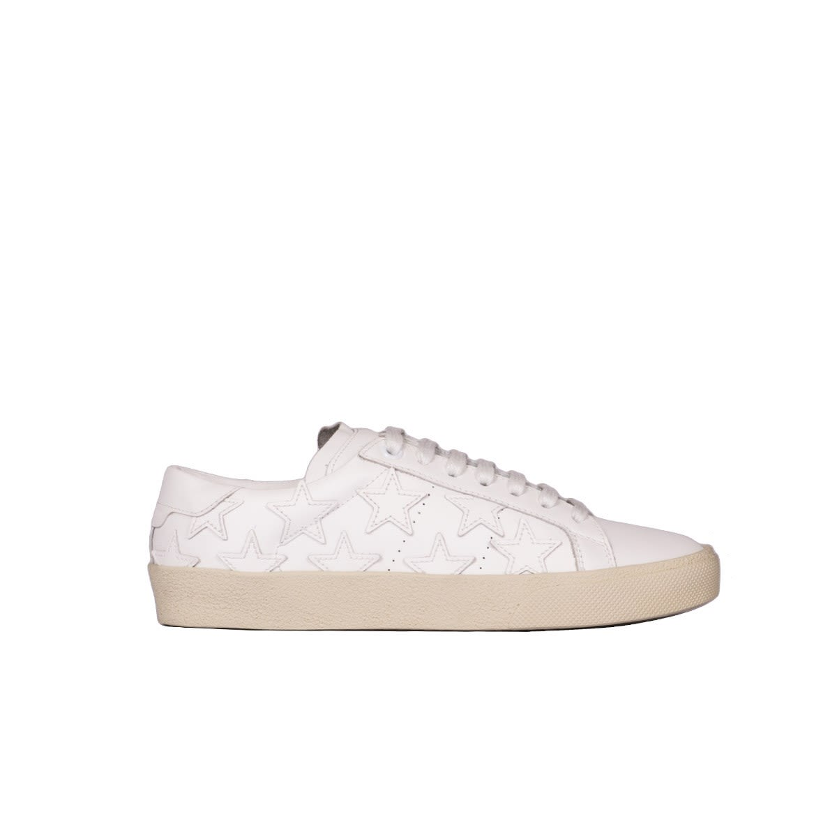 Saint Laurent White Leather Sneakers With Stars