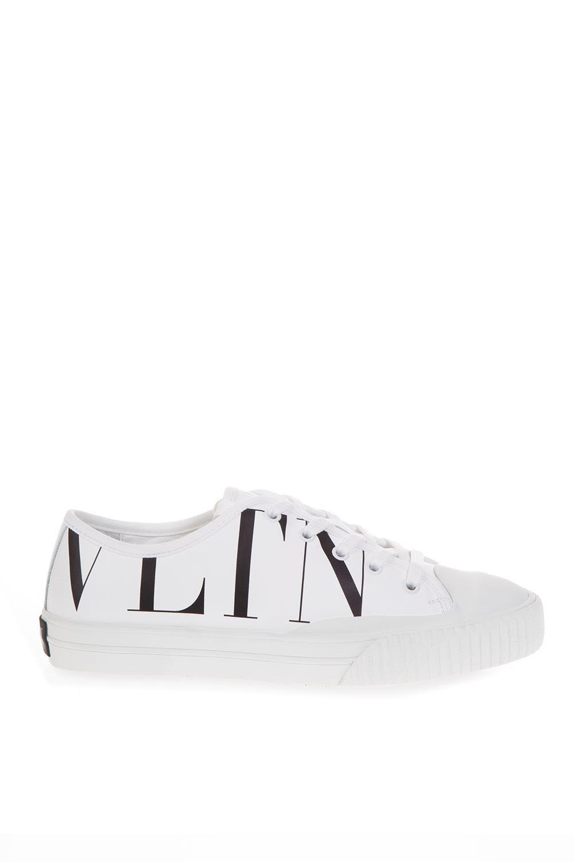 Valentino Garavani White Canvas & Leather Sneakers With Logo Vltn
