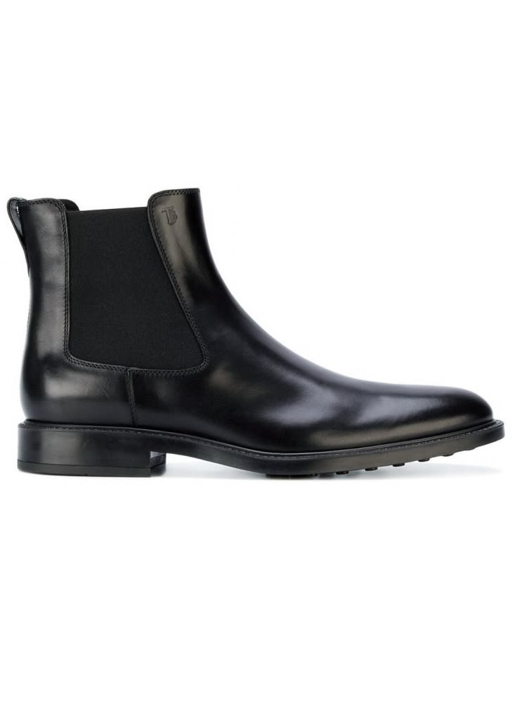 Tod's Black Leather Slip-on Booties