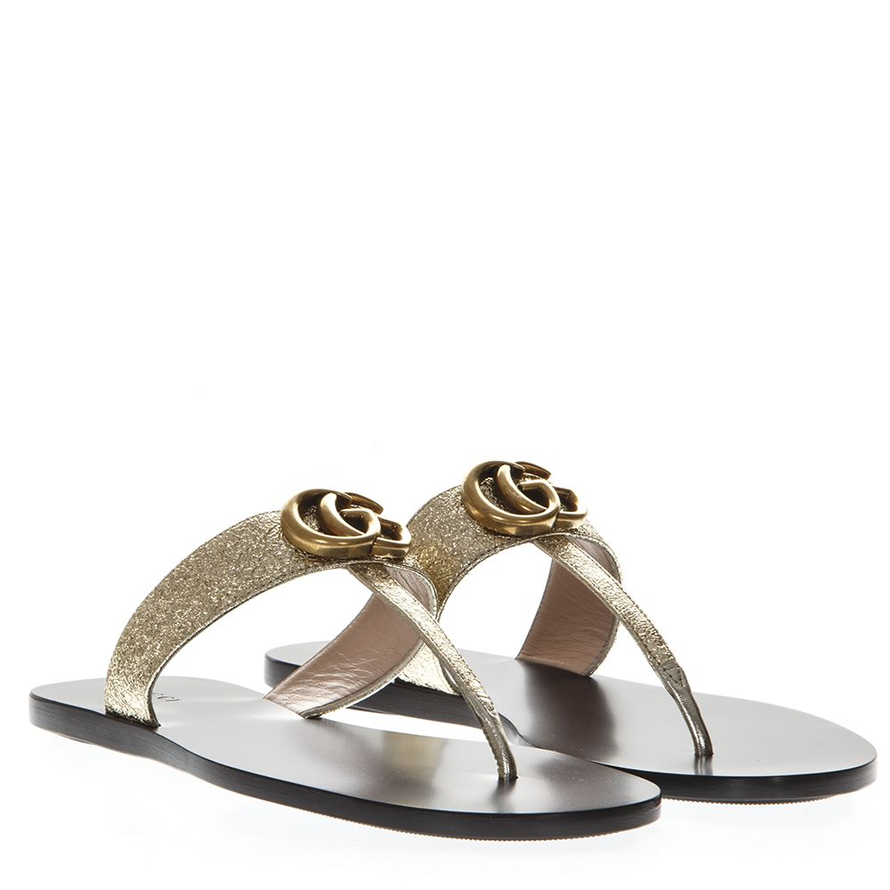 3e2e443fe36 Gucci Marmont Logo-Embellished Metallic Textured-Leather Sandals In Gold