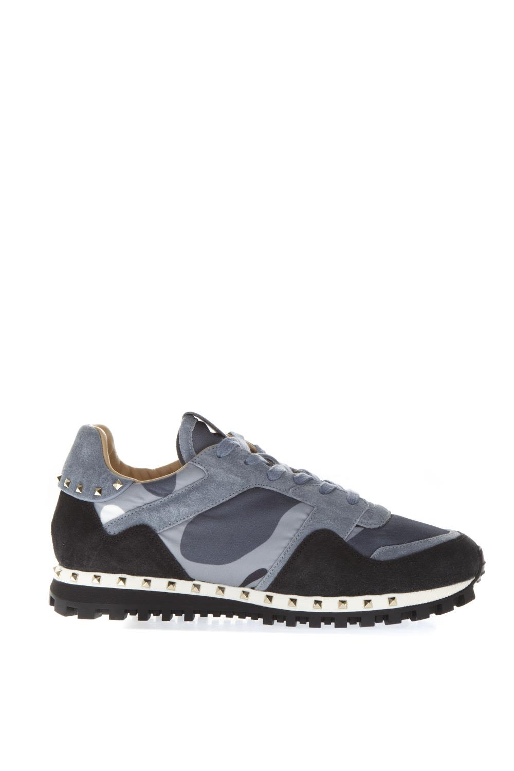 Valentino Garavani Blue Leather And Suede Sneakers