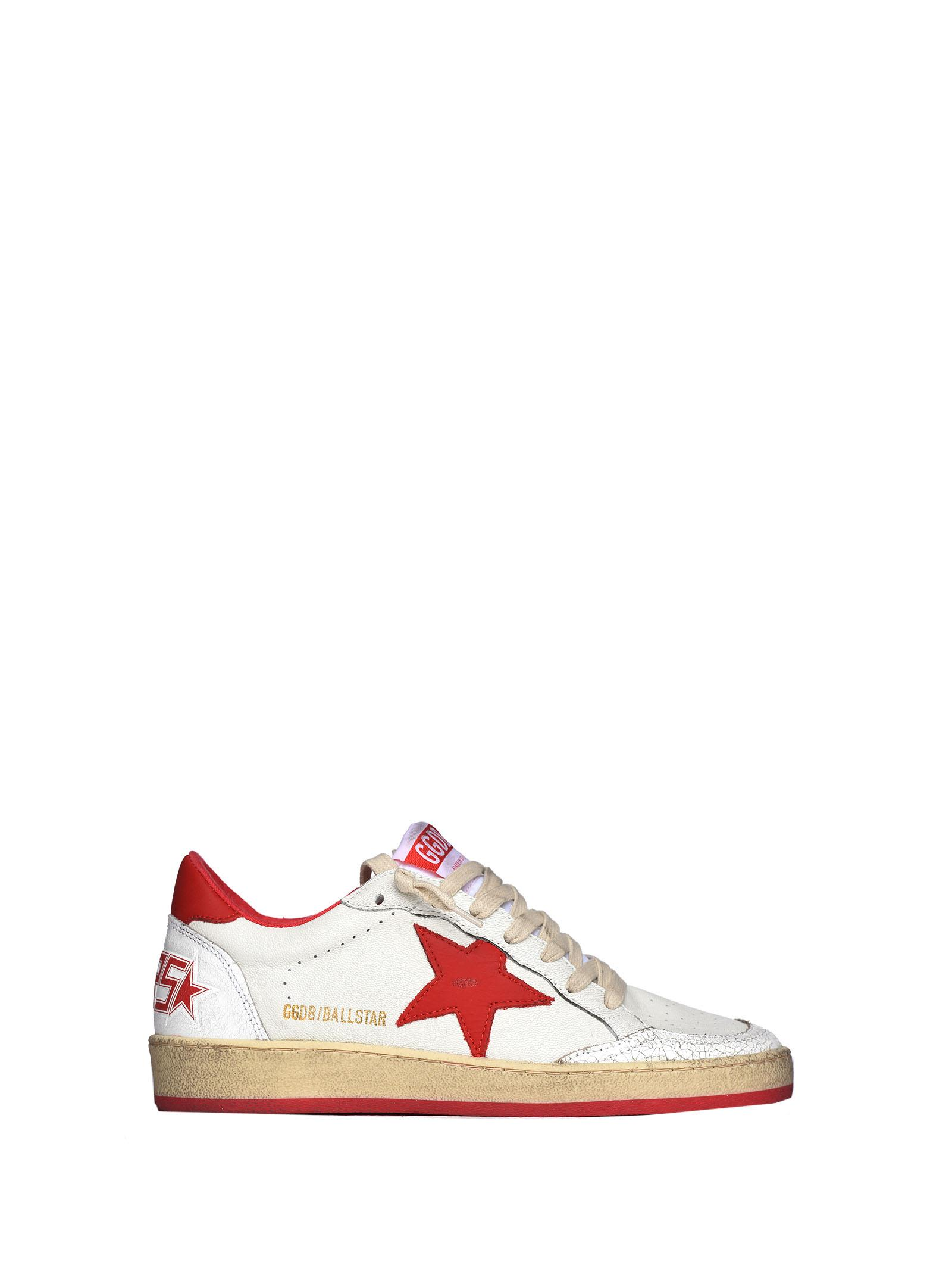 Golden Goose Ball Star Sneakers In White And Red Calf Leather