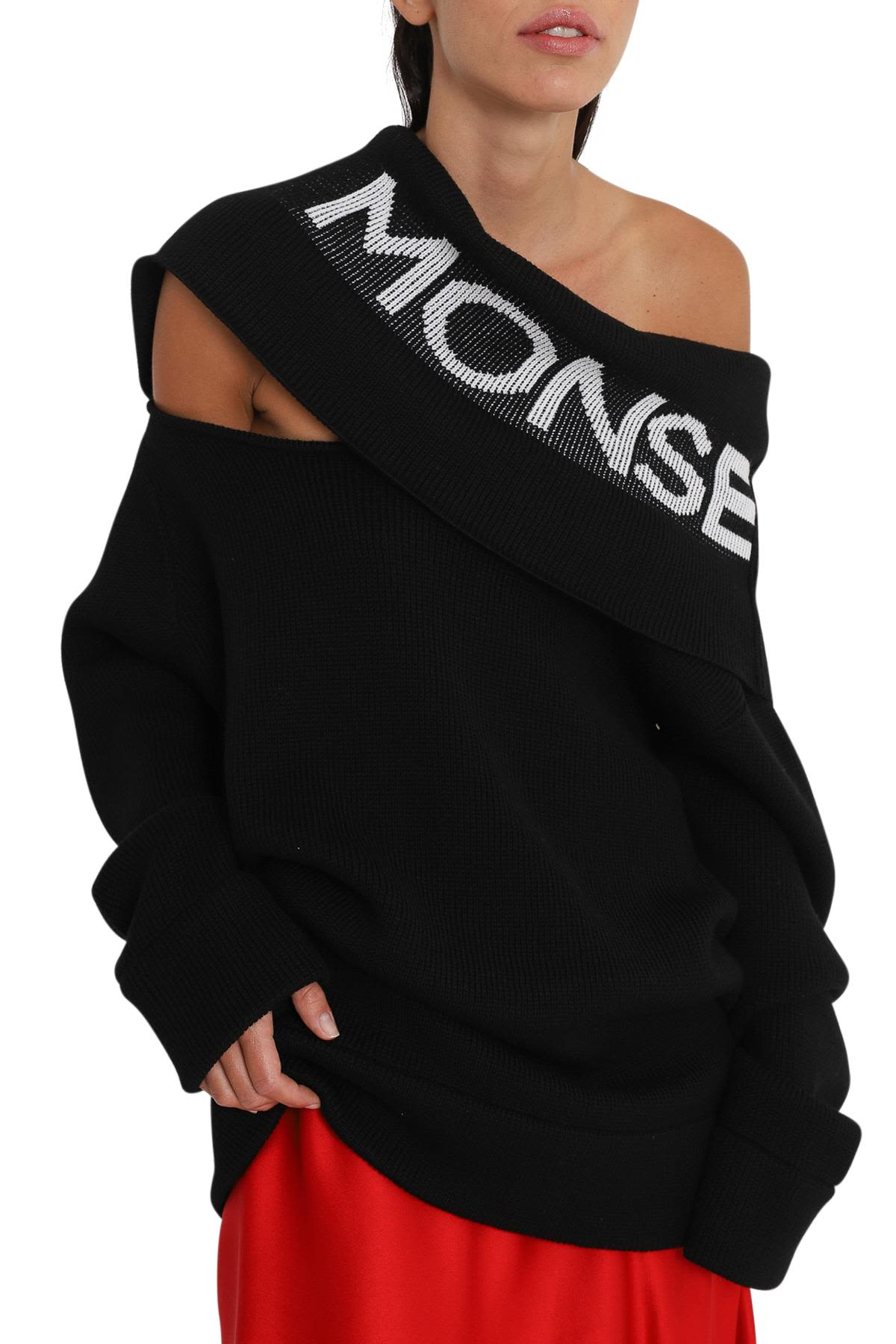MONSE Knitted Sweater With Logo Intarsia Shawl Collar