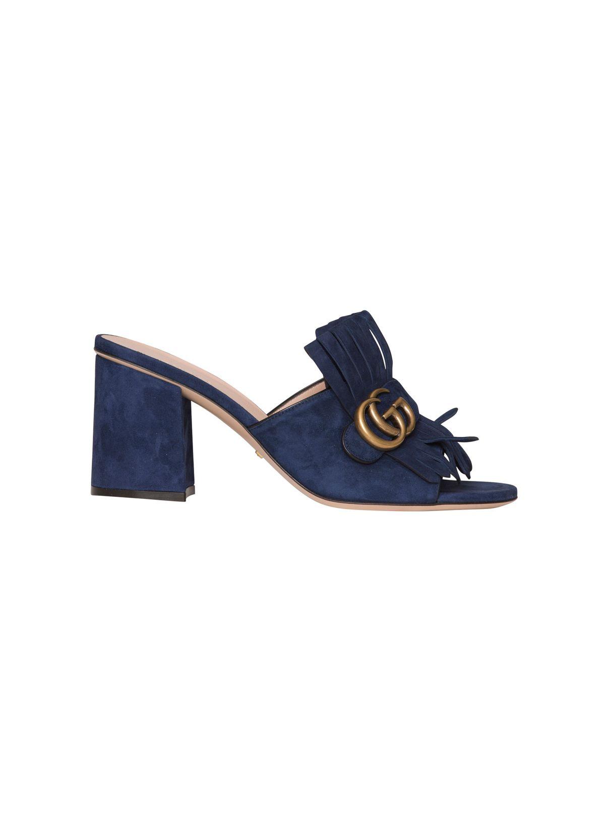 d875adc5f9c8 Gucci Marmont Suede Fringe Slide Sandals