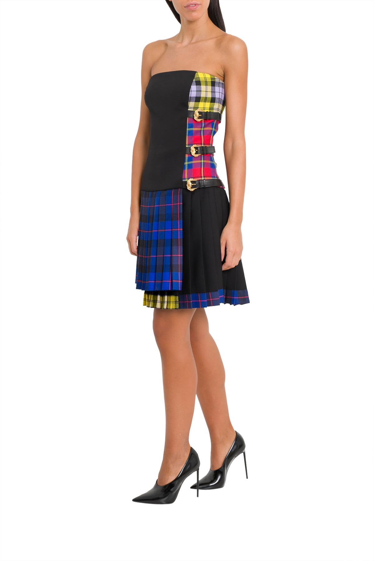 Versace Tartan Panel Mini Dress