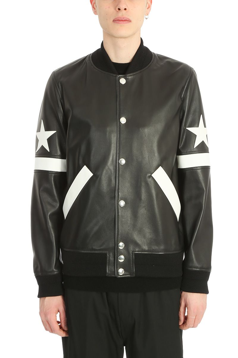 Givenchy Black Leather Bomber Jacket