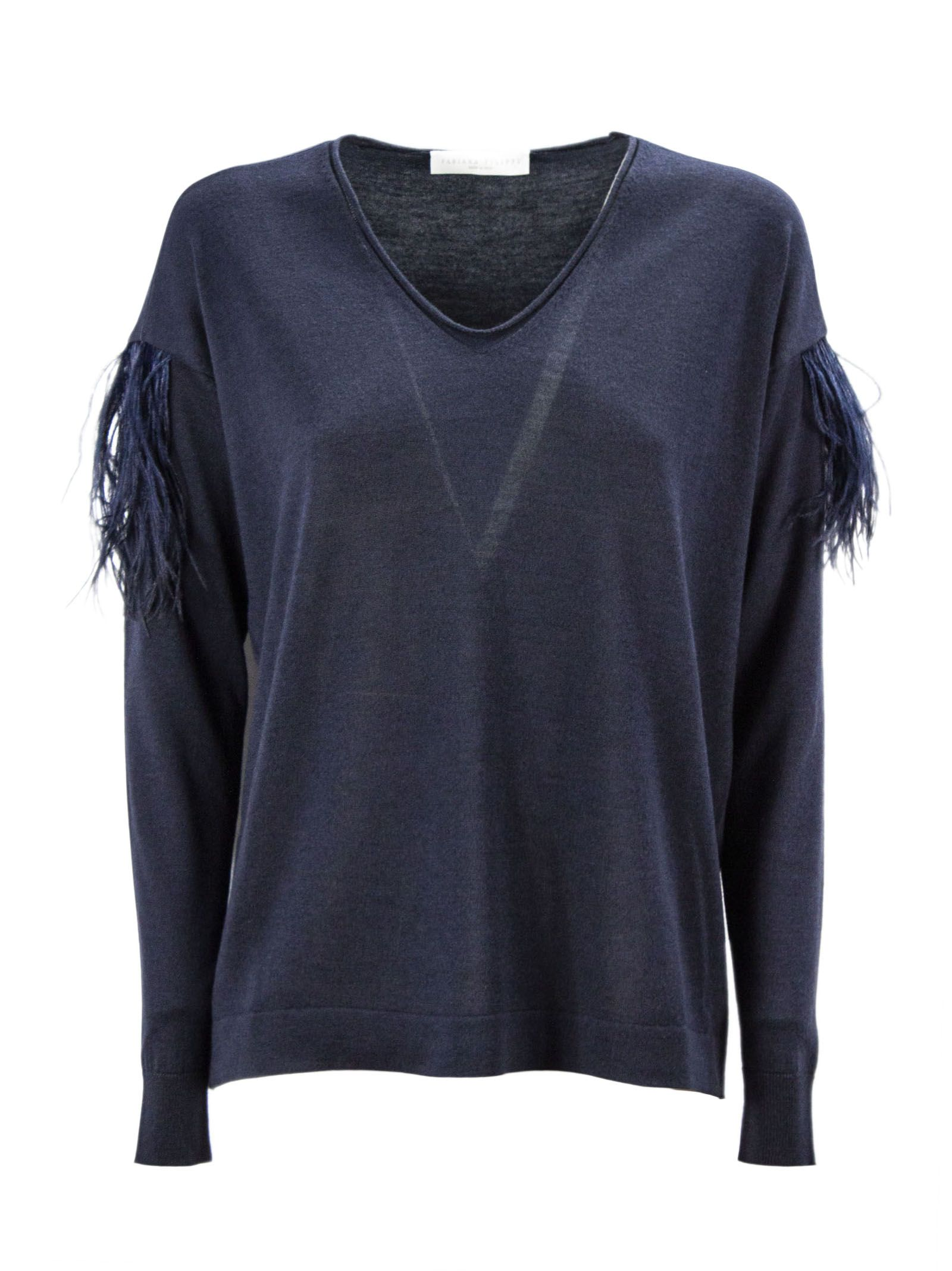 Fabiana Filippi Blue Merino Wool Blend Sweater