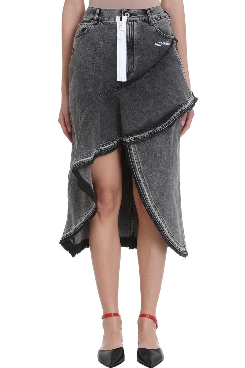 Off-White Ruffled Denim Skirt
