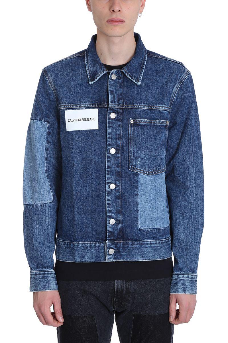Calvin Klein Jeans Patched Blue Denim Jeans Jacket