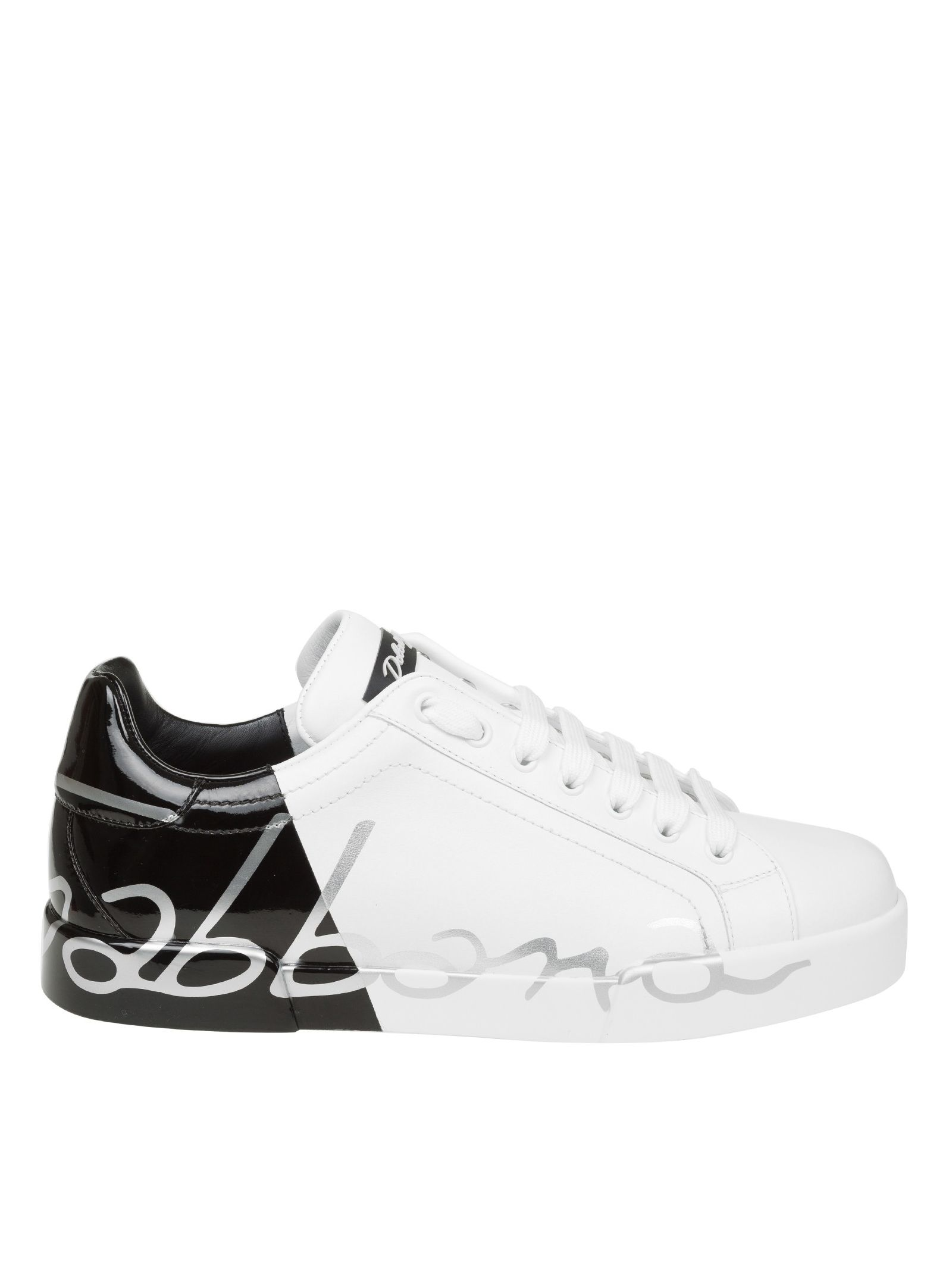 Dolce & Gabbana Sneakers In Black And White Leather