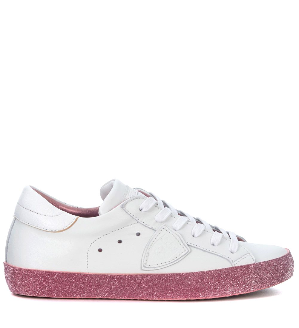 Philippe Model Paris White Leather Sneaker With Pink Glitter