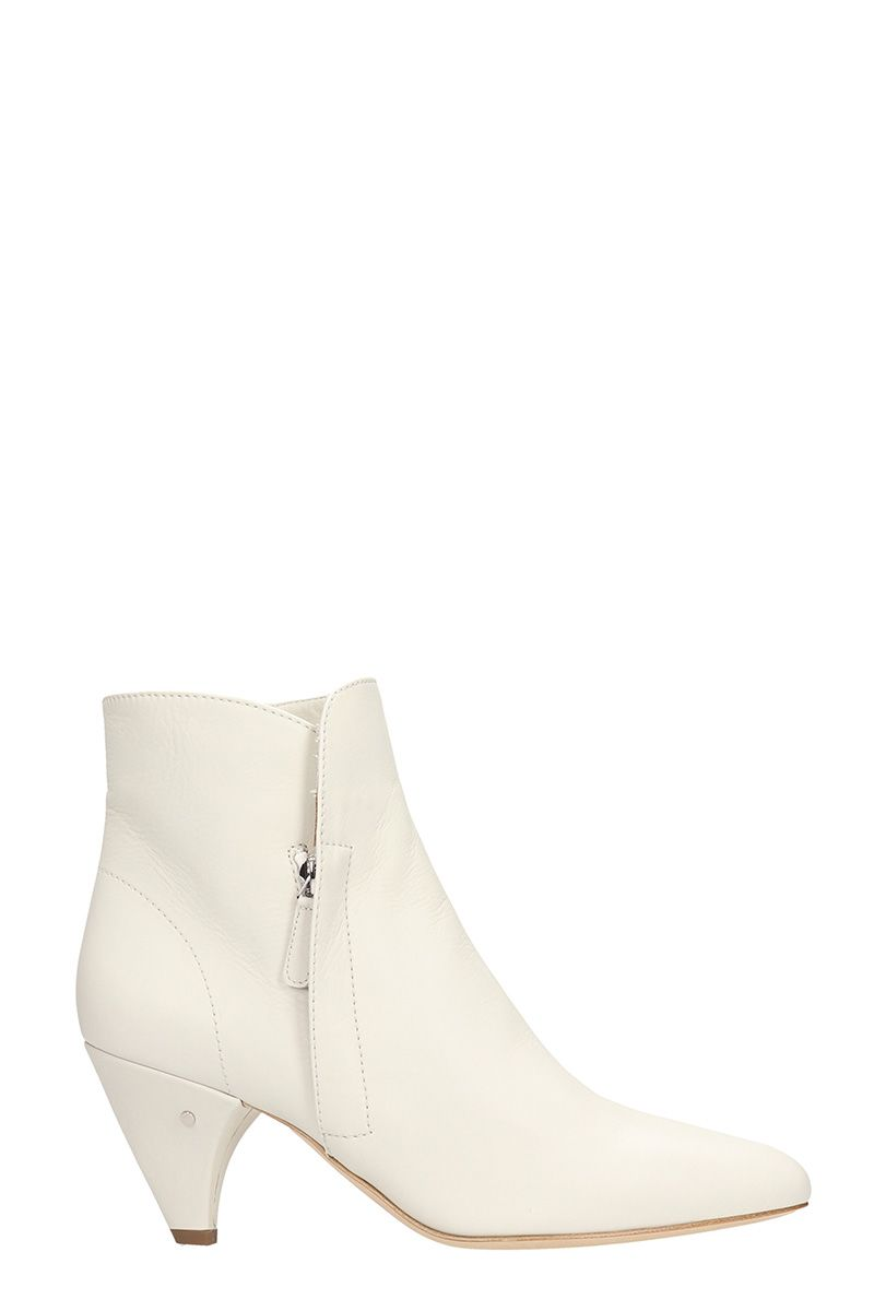 laurence dacade -  Stella White Leather Ankle Boots