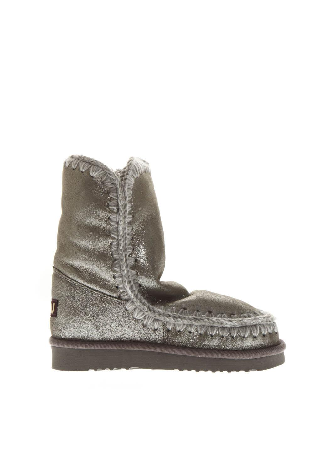 Mou Silver Shearling Boots