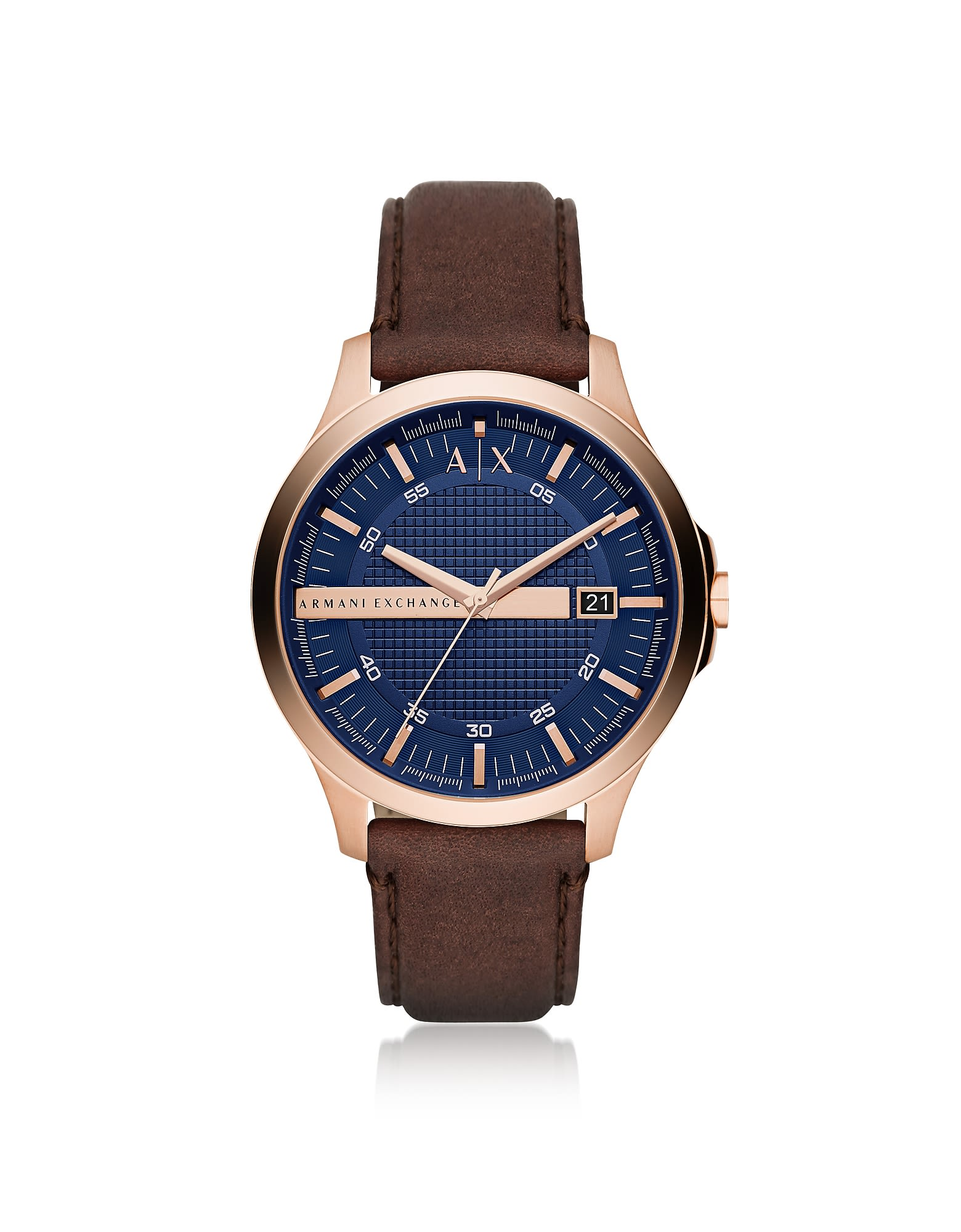 Armani Exchange Hampton Rose Gold Tone With Brown Leather Men's Watch