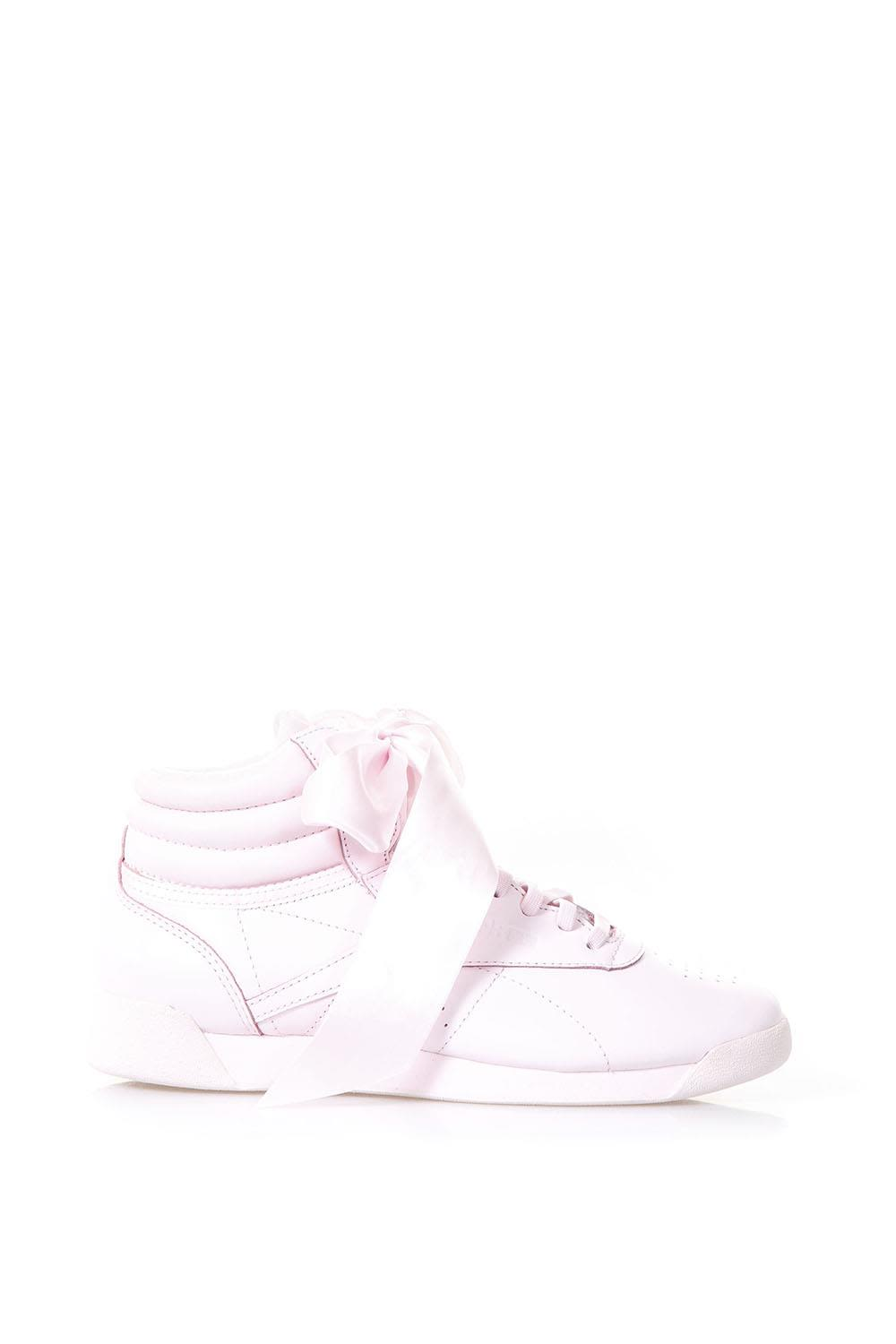 Reebok Pink Leather Sneakers With Ribbon