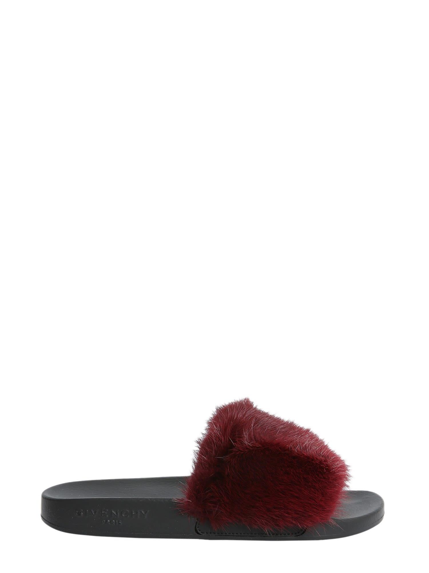 7091e7d86e2e8b Givenchy Mink Fur Slide Sandals