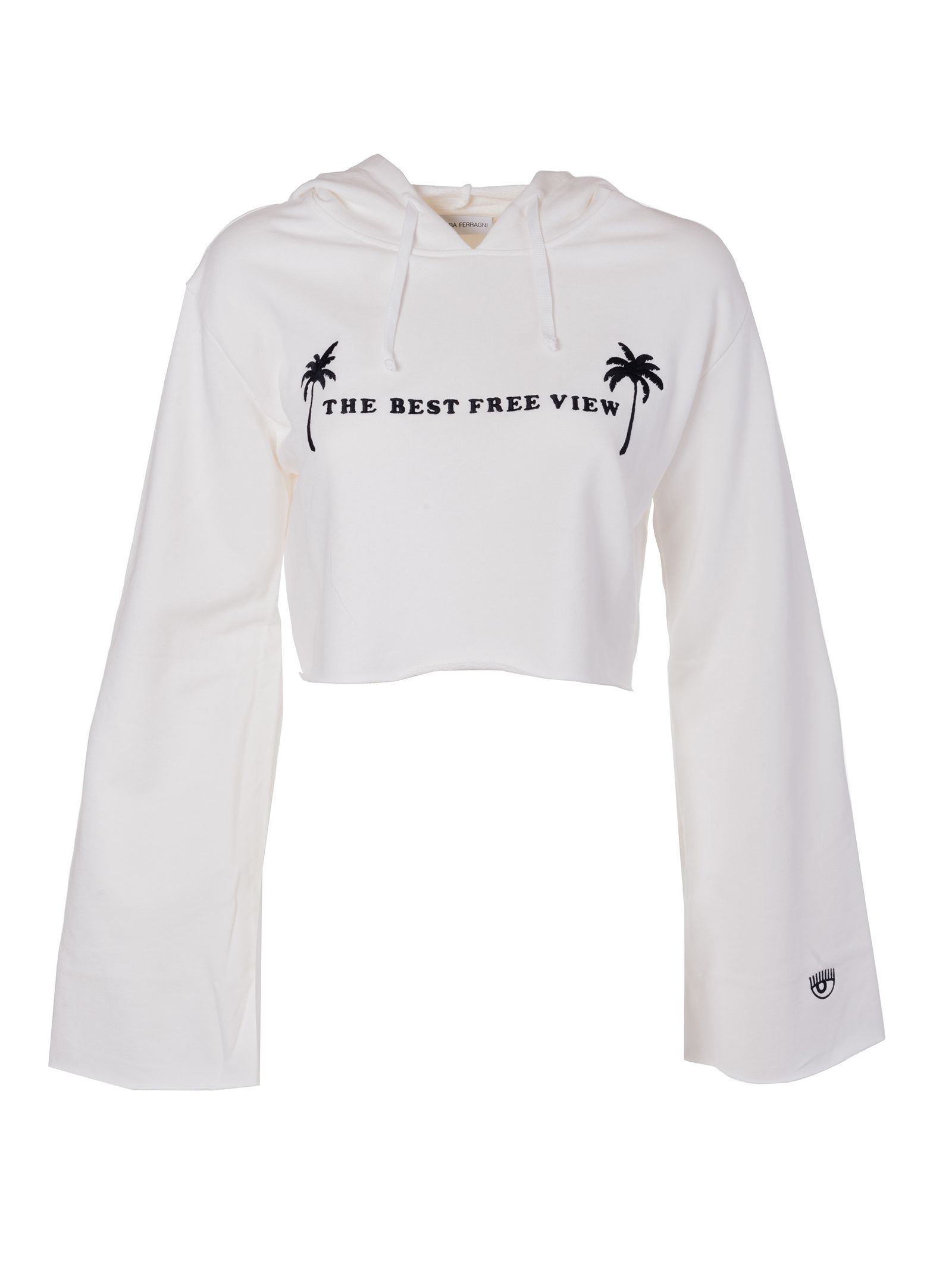 Chiara Ferragni Cropped Embroidered Logo Hoodie