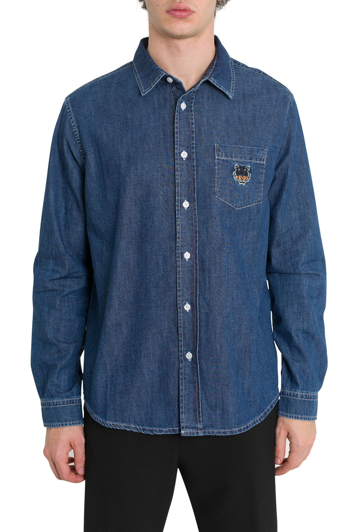 783ce5dc3f Kenzo Kenzo Tiger Embroidered Denim Shirt - Blue - 10803455