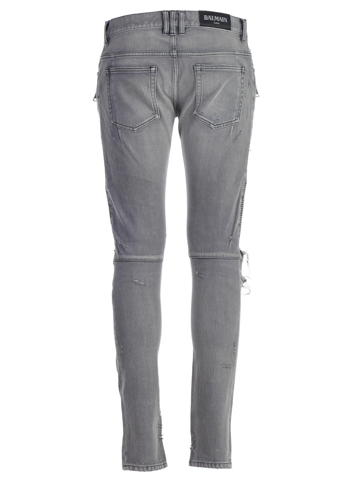 43592cd96bd Balmain Balmain Skinny Biker Distressed Zipped Jeans - Opa Black ...