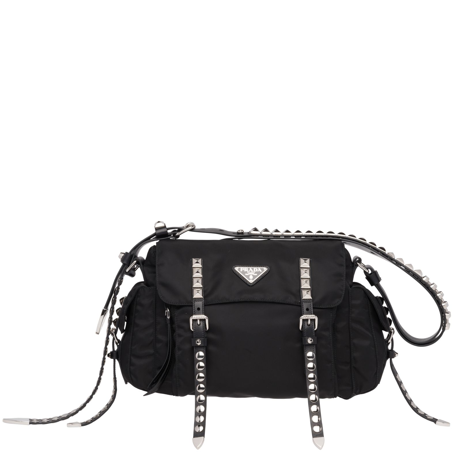 10c08ac821df0a Prada Messanger New Vela With Black Studs, Rubber Shoulder Strap With Studs,  Studded Front ...