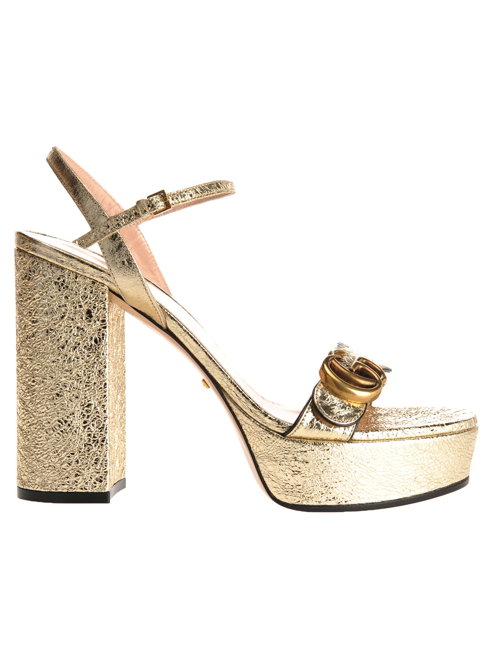 Gucci Platform Sandal With Double G In Gold