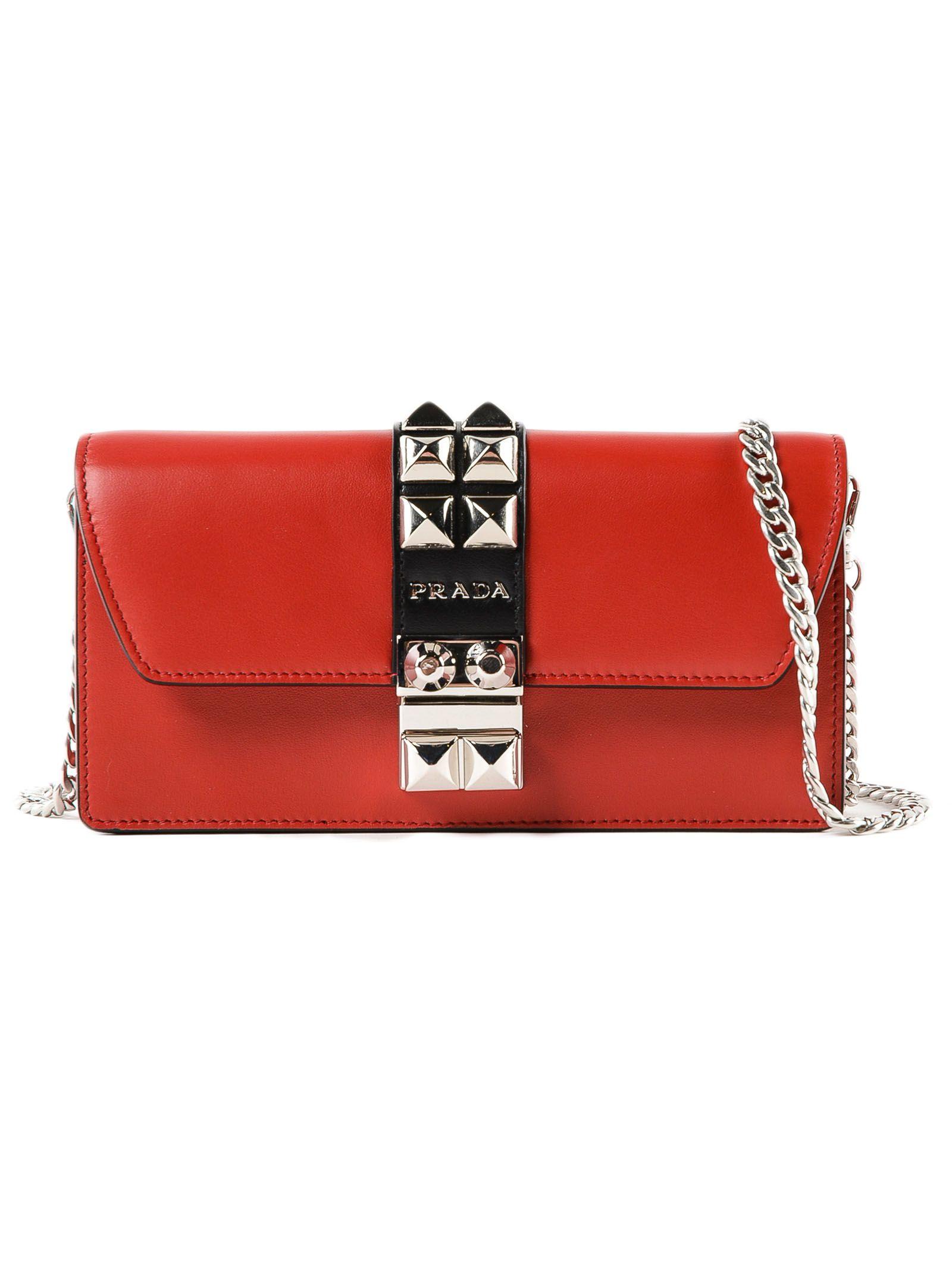 bcc595727fa4d1 Prada Prada Mini Elektra Studded Shoulder Bag - F Fuoco+nero ...